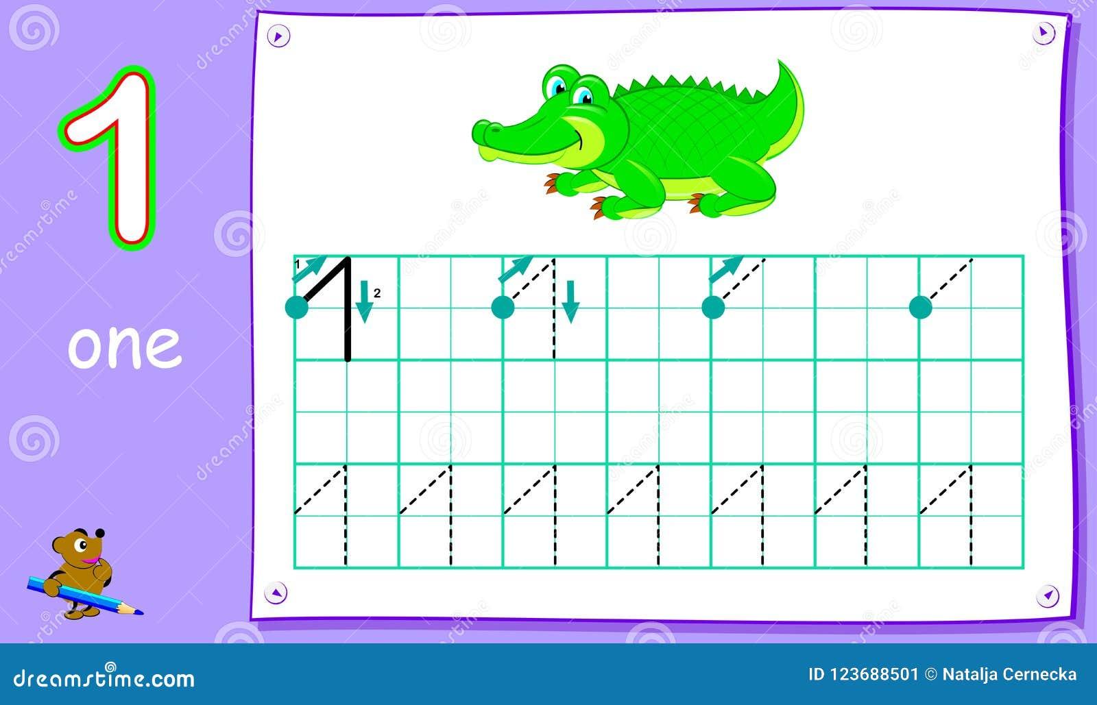 Pagina Educativa Per I Bambini Piccoli Con Il Numero Uno Abilità Di