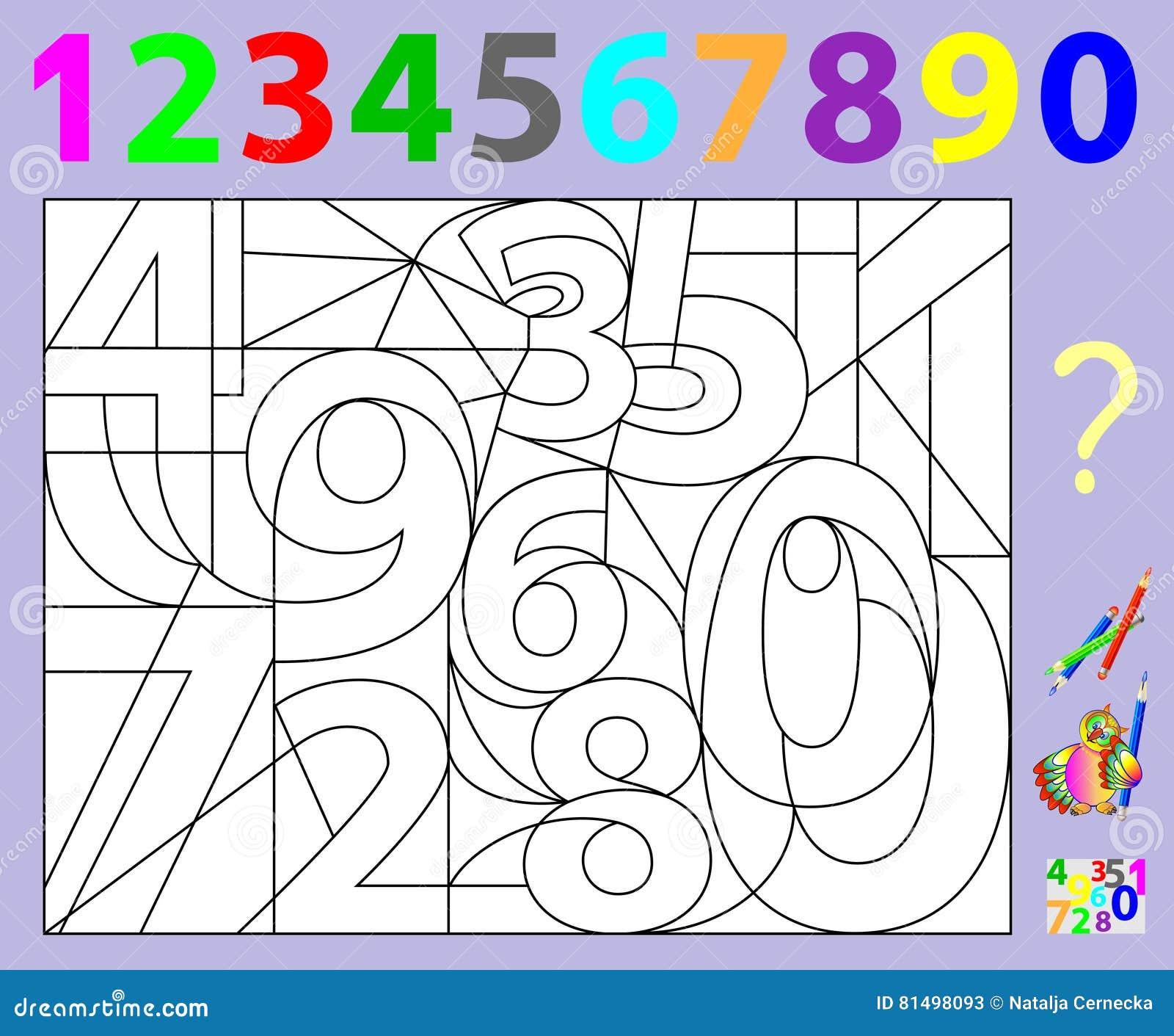 Pagina educativa per i bambini piccoli debba trovare i - Colore per numeri per i bambini ...