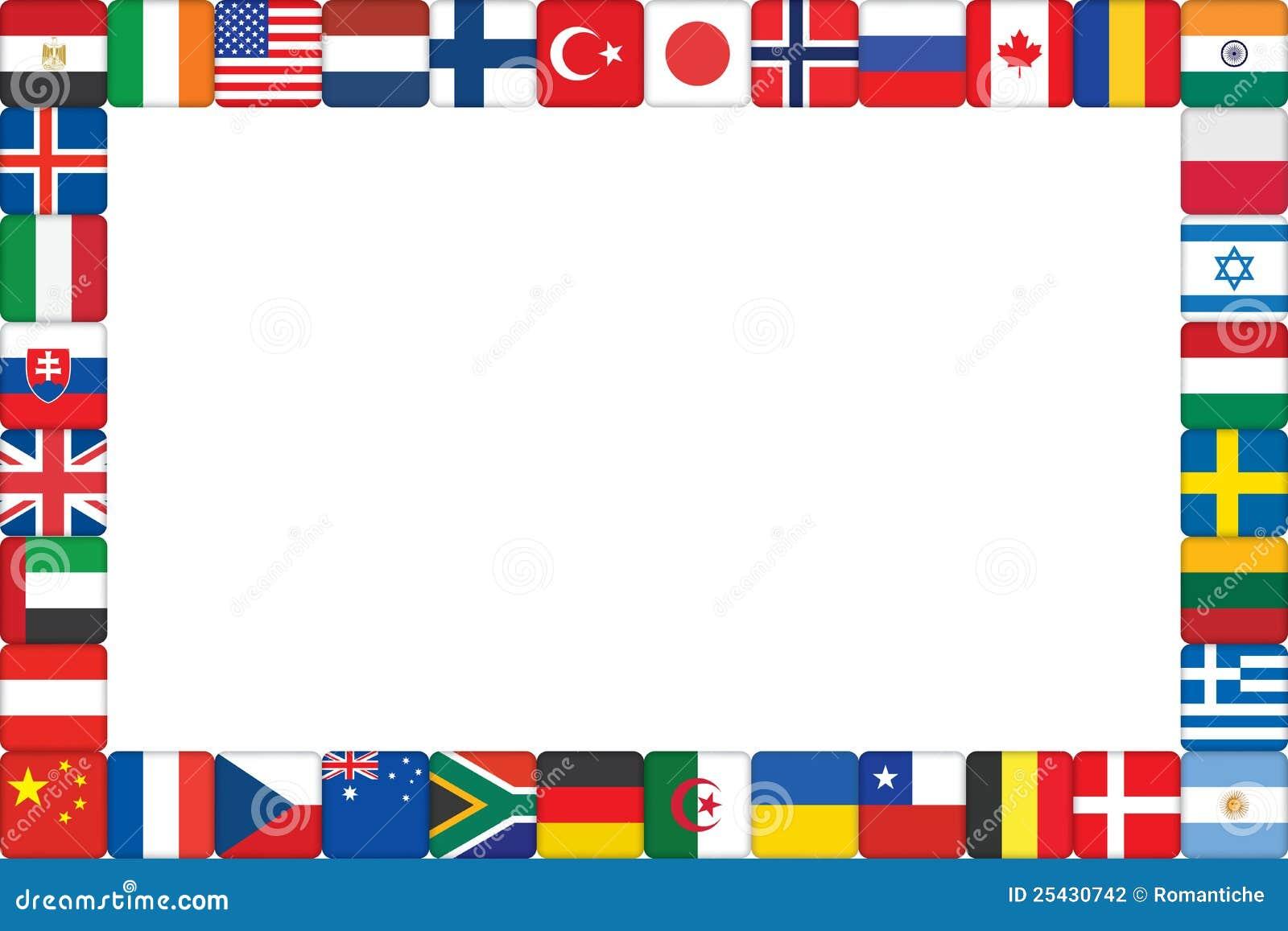 Pagina fatta delle icone della bandierina del mondo