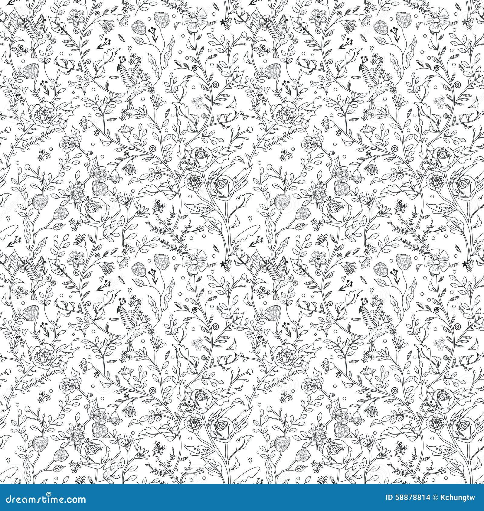 Pagina floreale senza cuciture graziosa di coloritura del modello