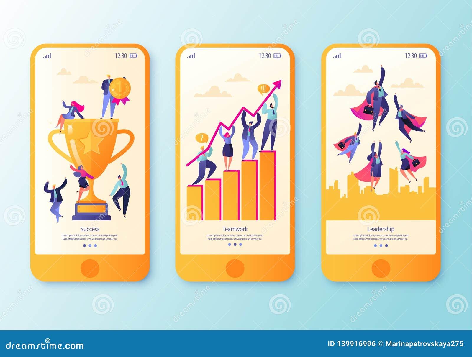 Pagina mobile del app, insieme dello schermo Concetto per il sito Web sull affare, riuscito, tema di lavoro di squadra Concetto d