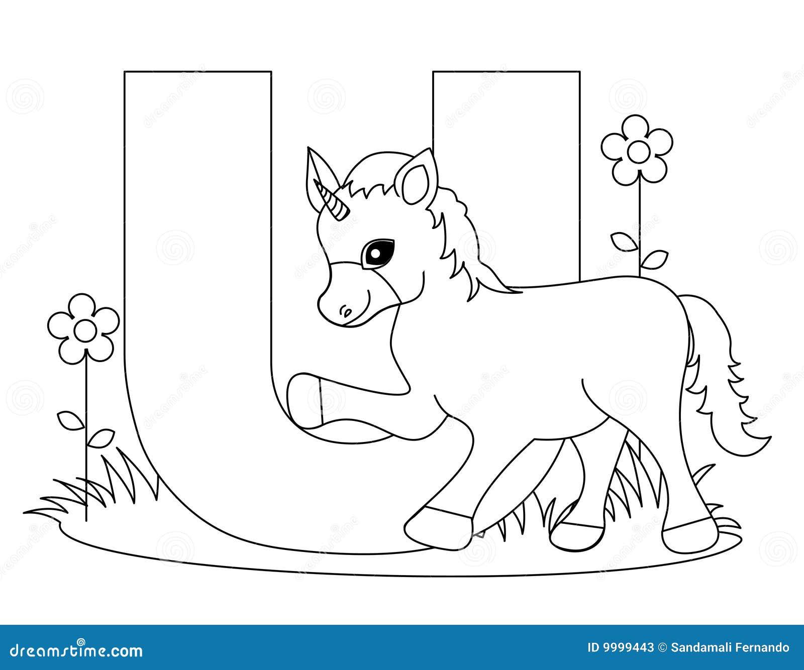 Paginación Animal Del Colorante Del Alfabeto U Ilustración del ...