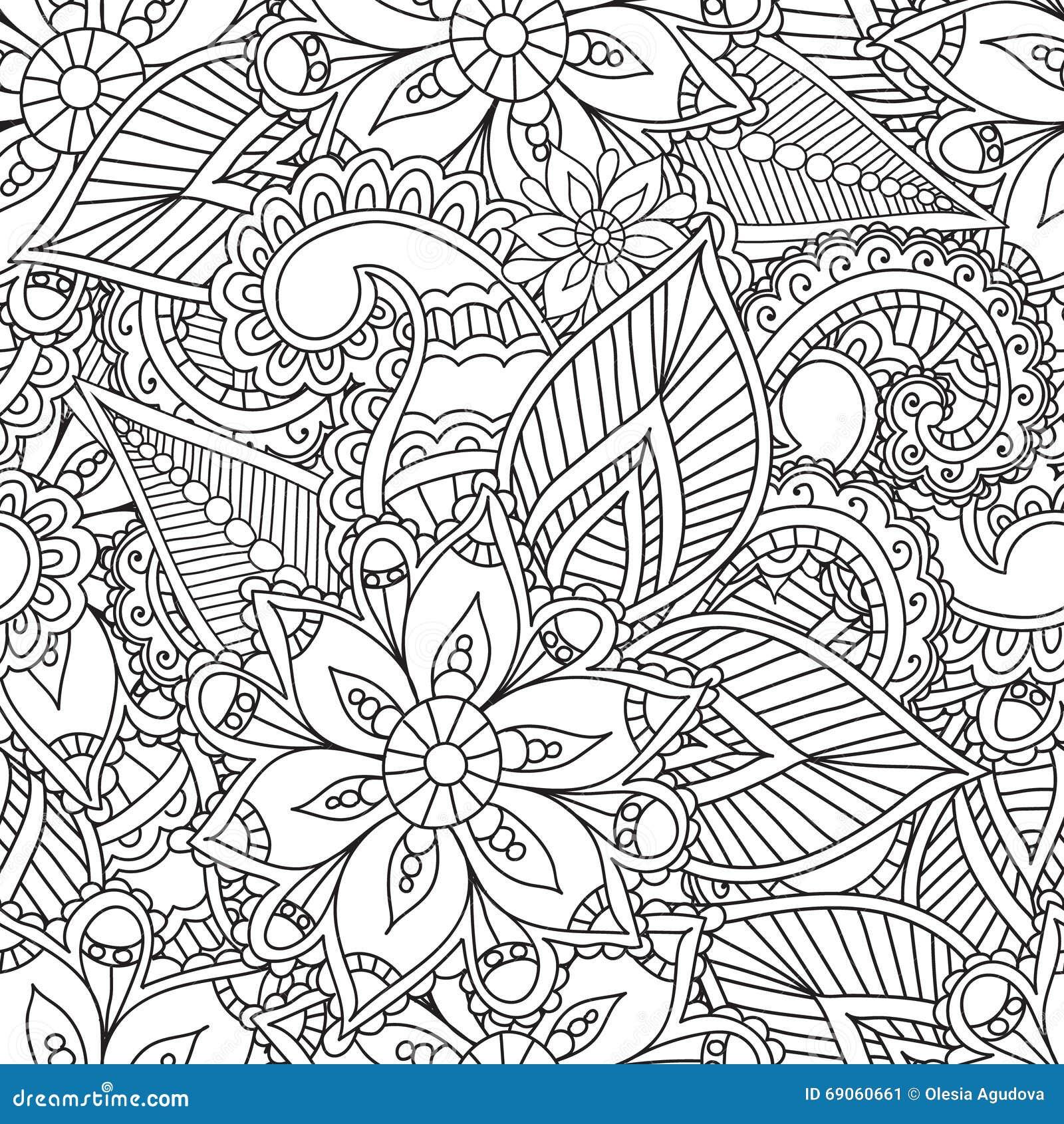 Pagine Di Coloritura Per Gli Adulti Elementi Di Seamles