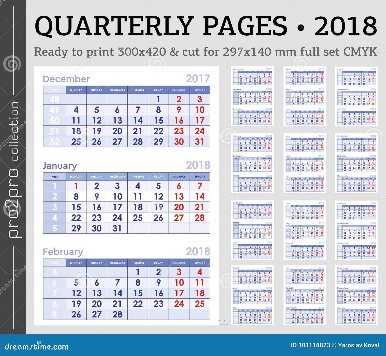 Calendario Trimestrali.Pagine Trimestrali Pronto 2018 Anni A Stampare L Insieme Di
