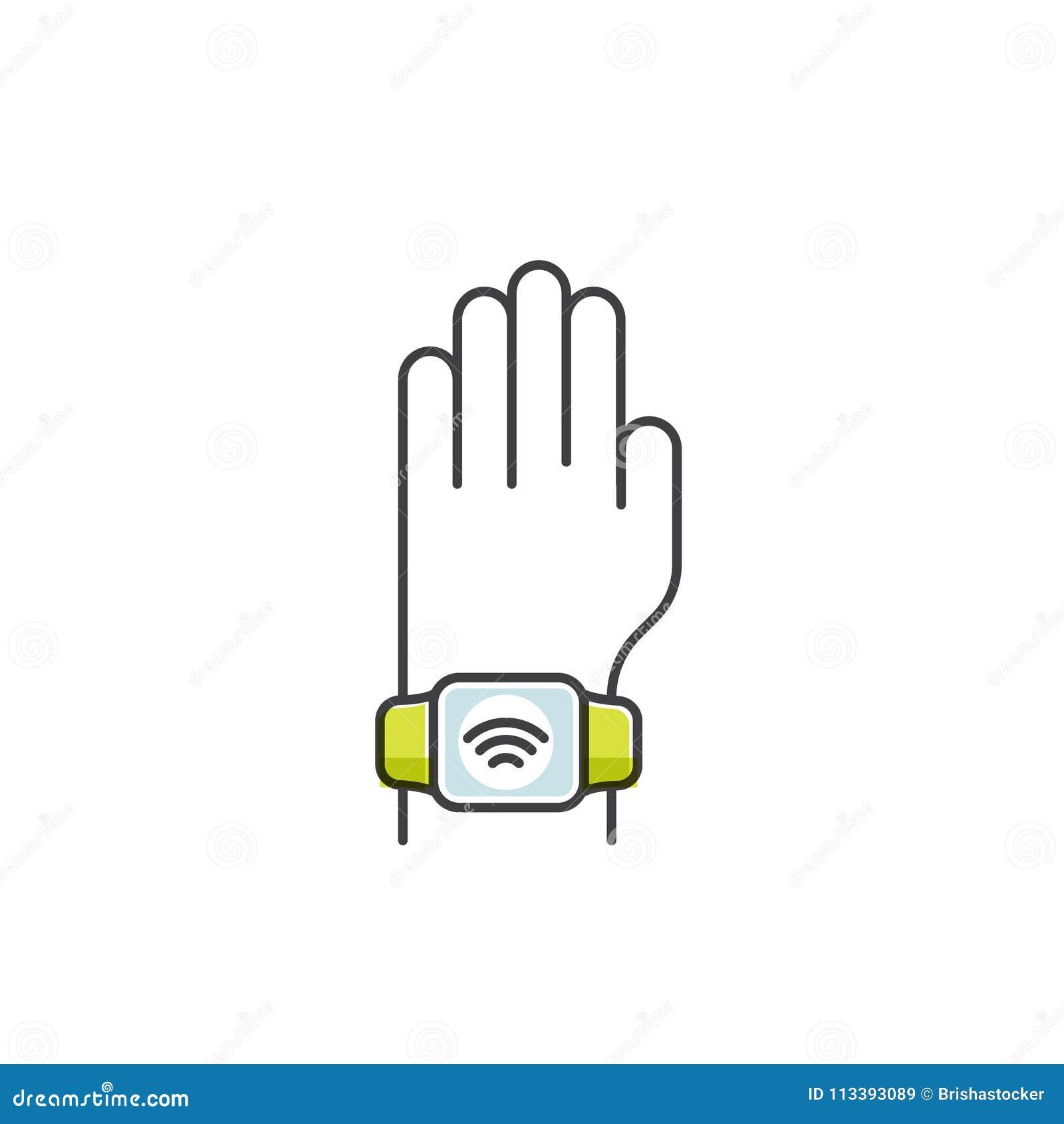 d0a1e7c9b795 Vector el ejemplo del estilo del icono del pago de NFC hecho a través del reloj  Pulsera que lleva de la mano Pague o haciendo una compra manera sin  contacto ...