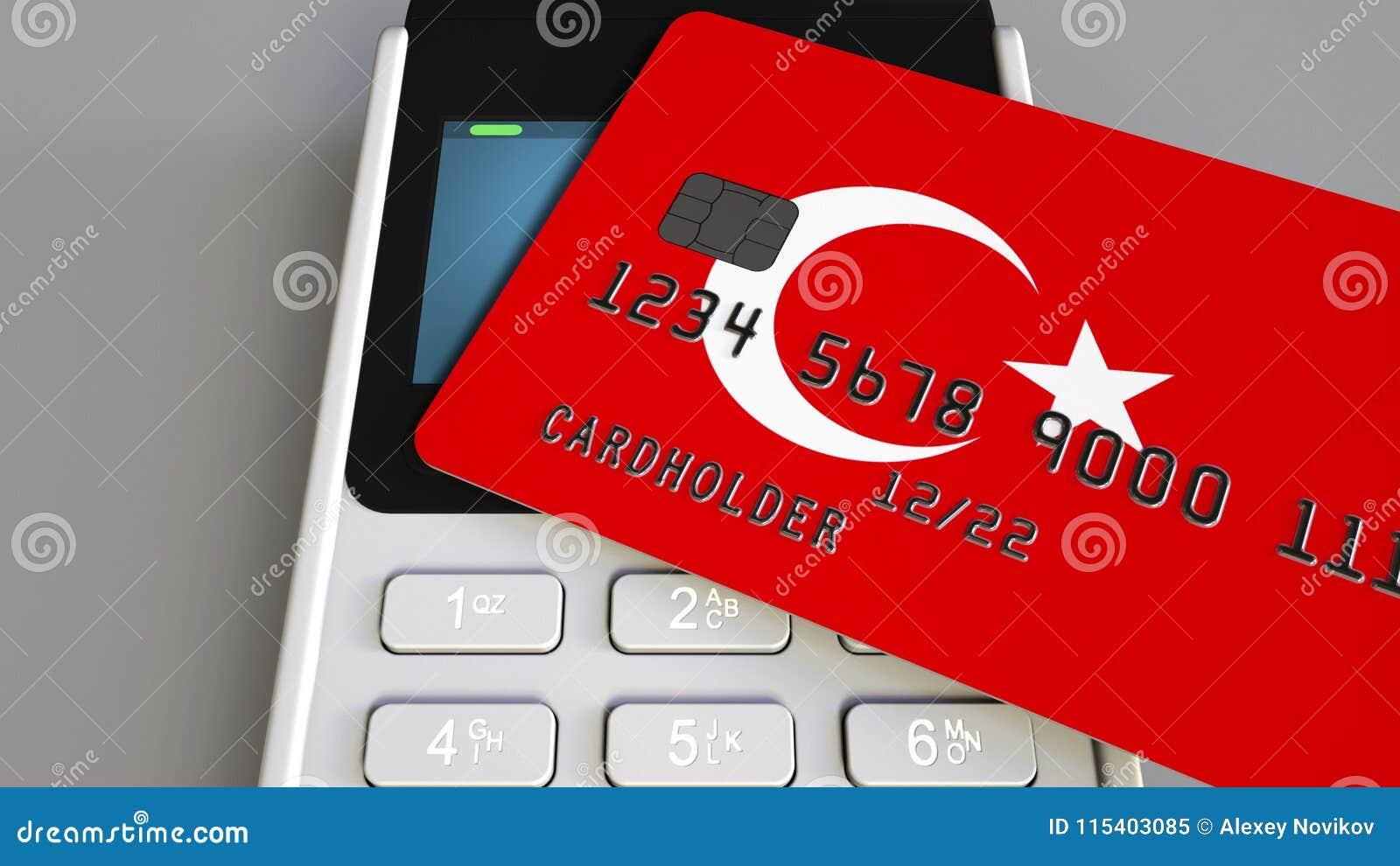 Pago o terminal de la posición con la tarjeta de crédito que ofrece la bandera de Turquía Comercio o sistema bancario al por meno