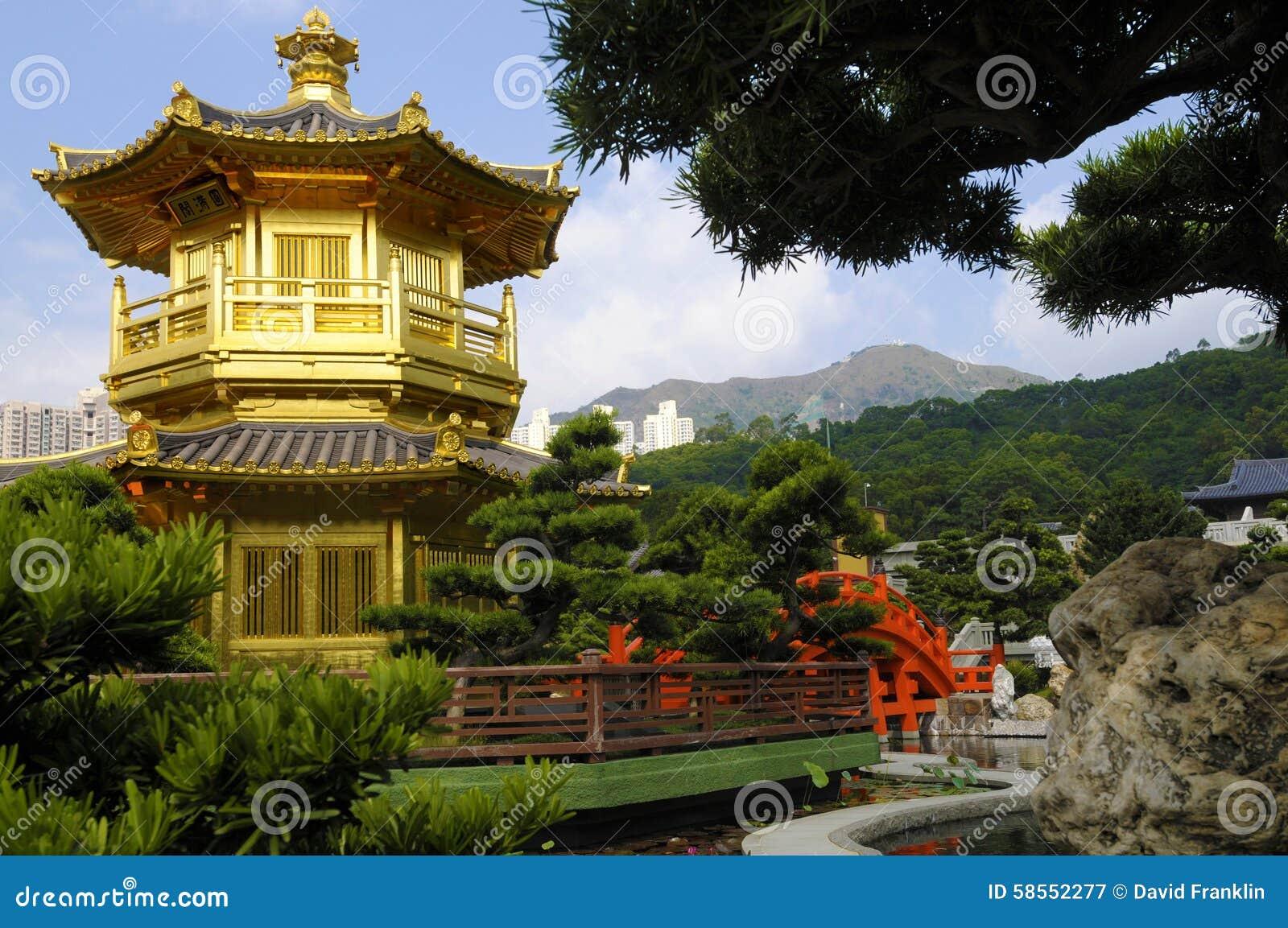 Pagoda de oro kowloon hong kong templo budista jard n for Jardin hong kong