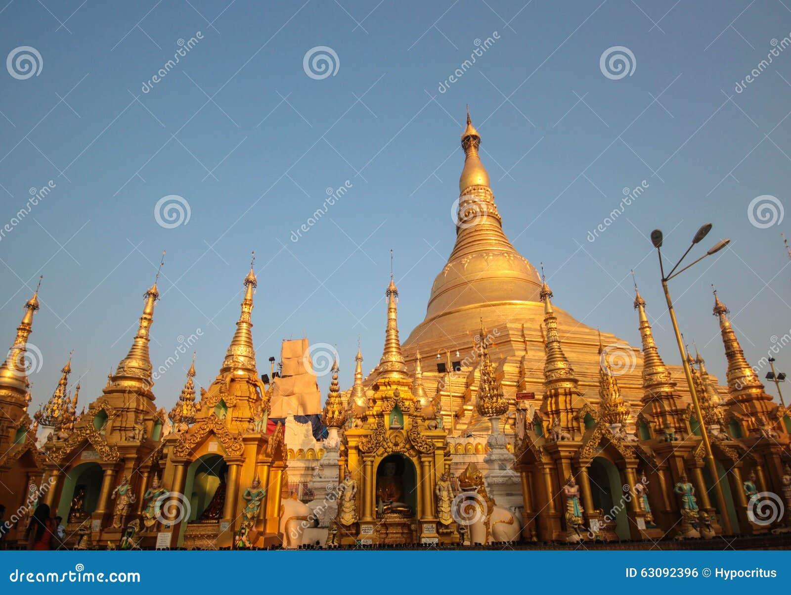 Download Pagoda de Shwedagon photo stock. Image du antique, sunset - 63092396