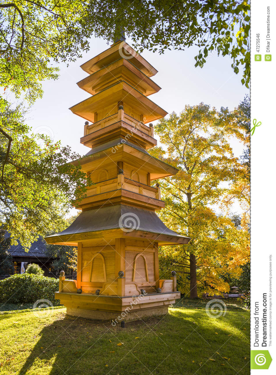 Pagoda In The Fort Worth Japanese Gardens Stock Photo - Image of ...