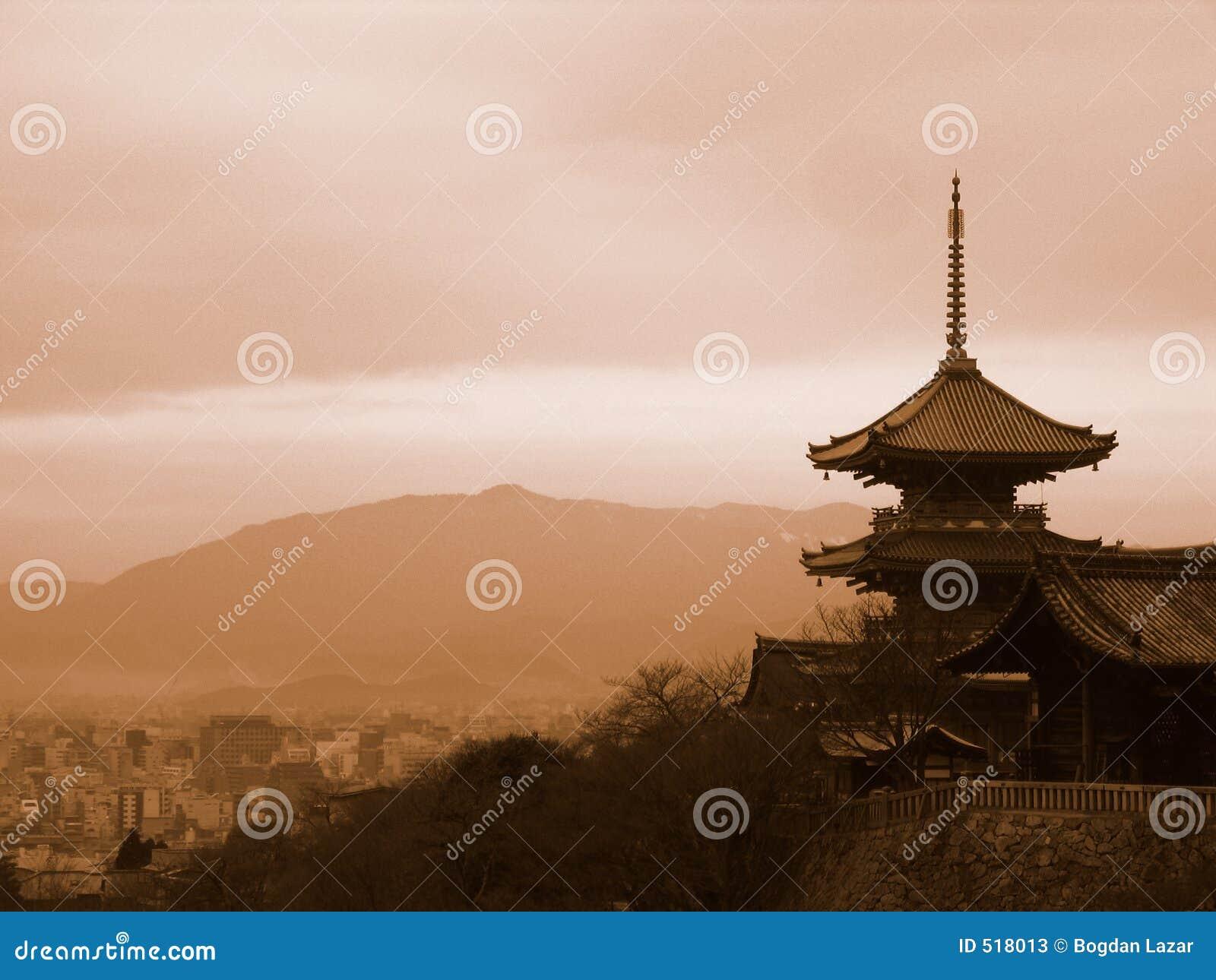 Pagoda Overlooking Kyoto Japan