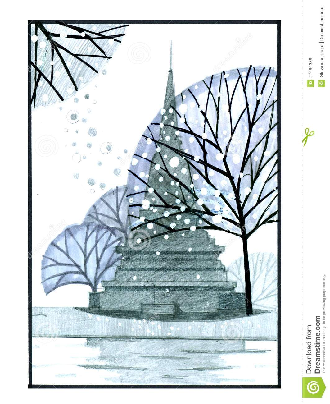 Pagoda thailand temple pencil drawing stock illustration