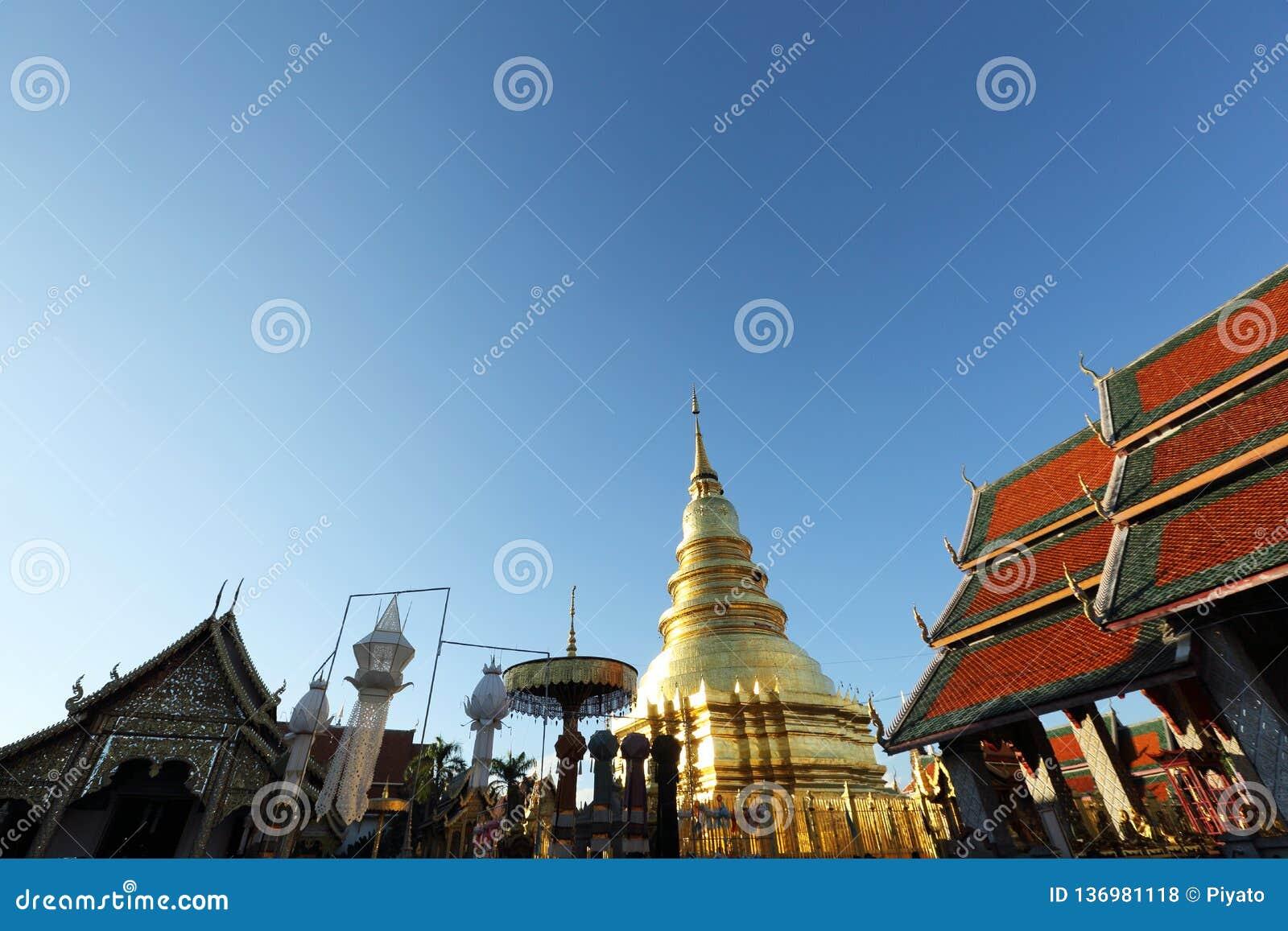 Pagode tailandês em Lamphun Tailândia