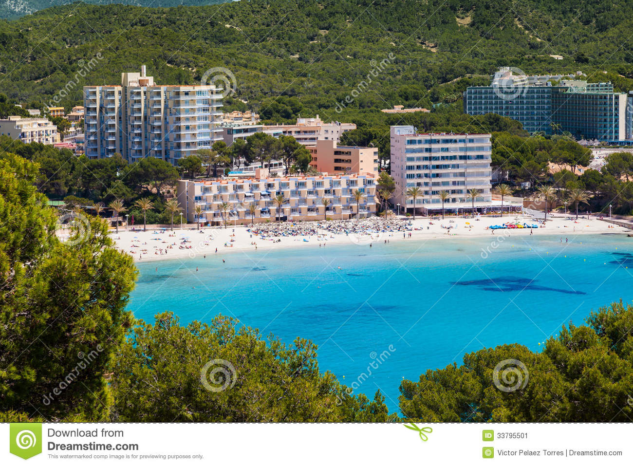 Paguera Spain  city photo : Scenic View of Paguera Beach in Mallorca, Spain.