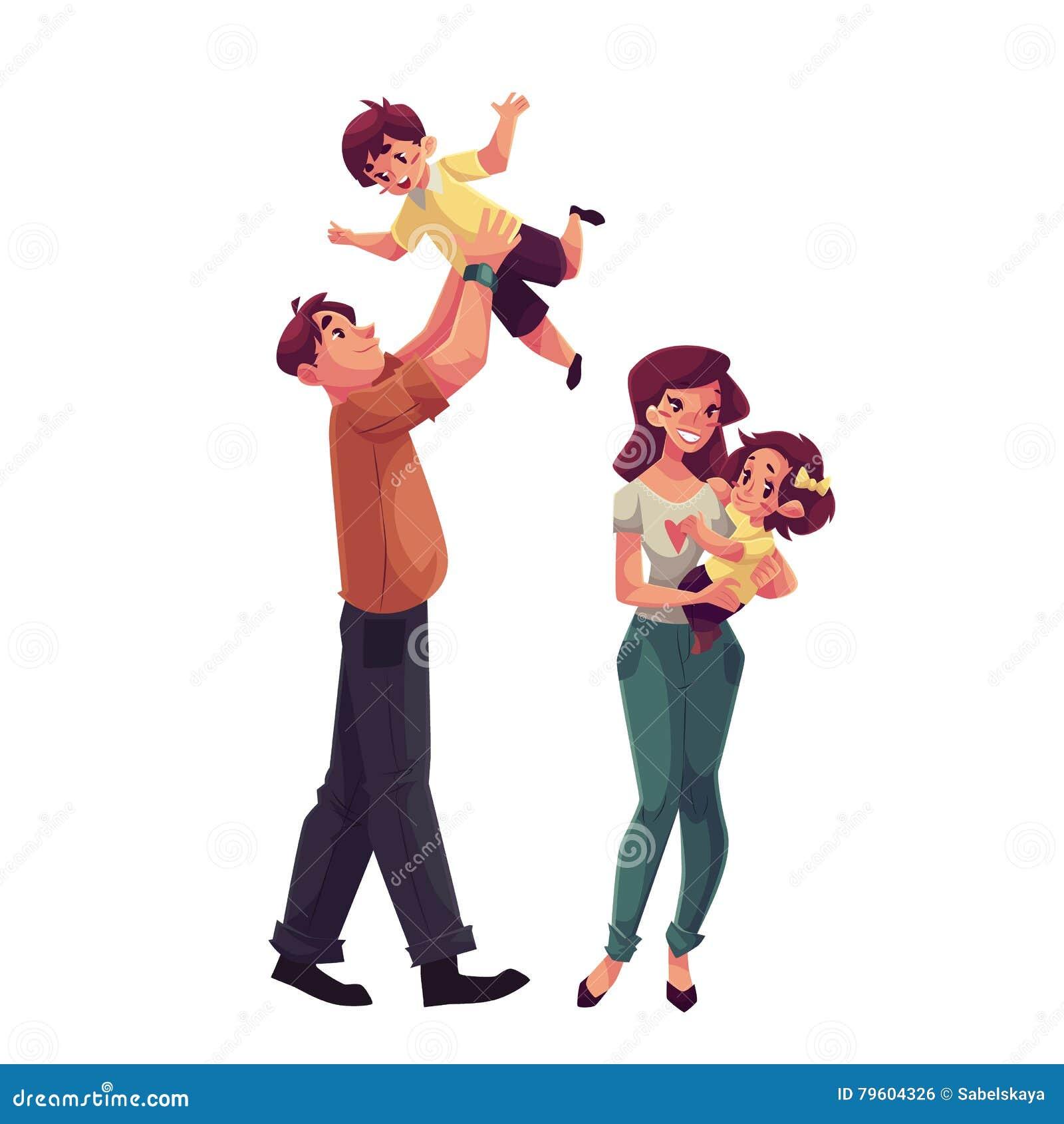f0a8d4dc64de60 Pai, Mãe, Filha E Filho, Conceito De Família Feliz Ilustração do ...