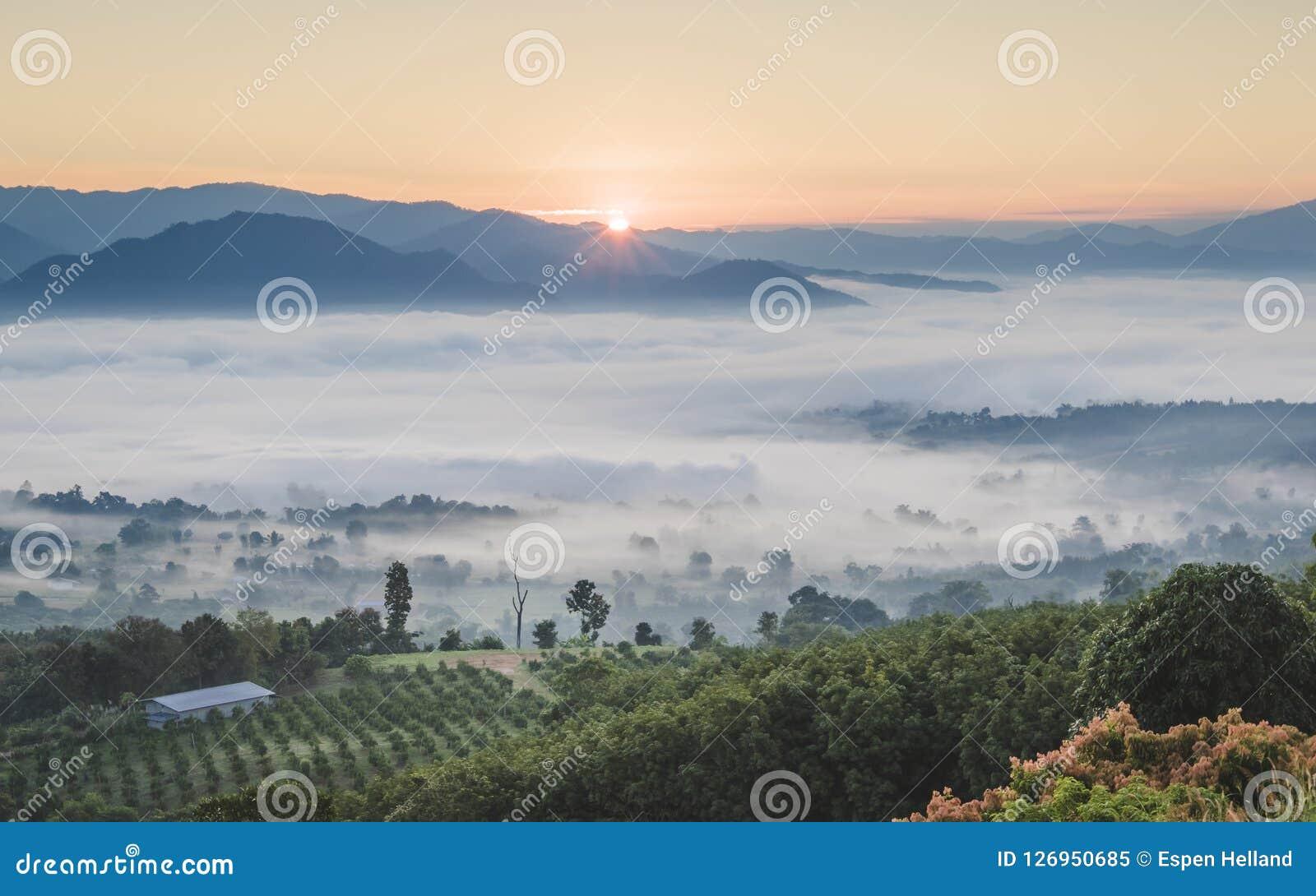 Pai Tajlandia krajobraz z mgłą w dolinach przy wschodem słońca