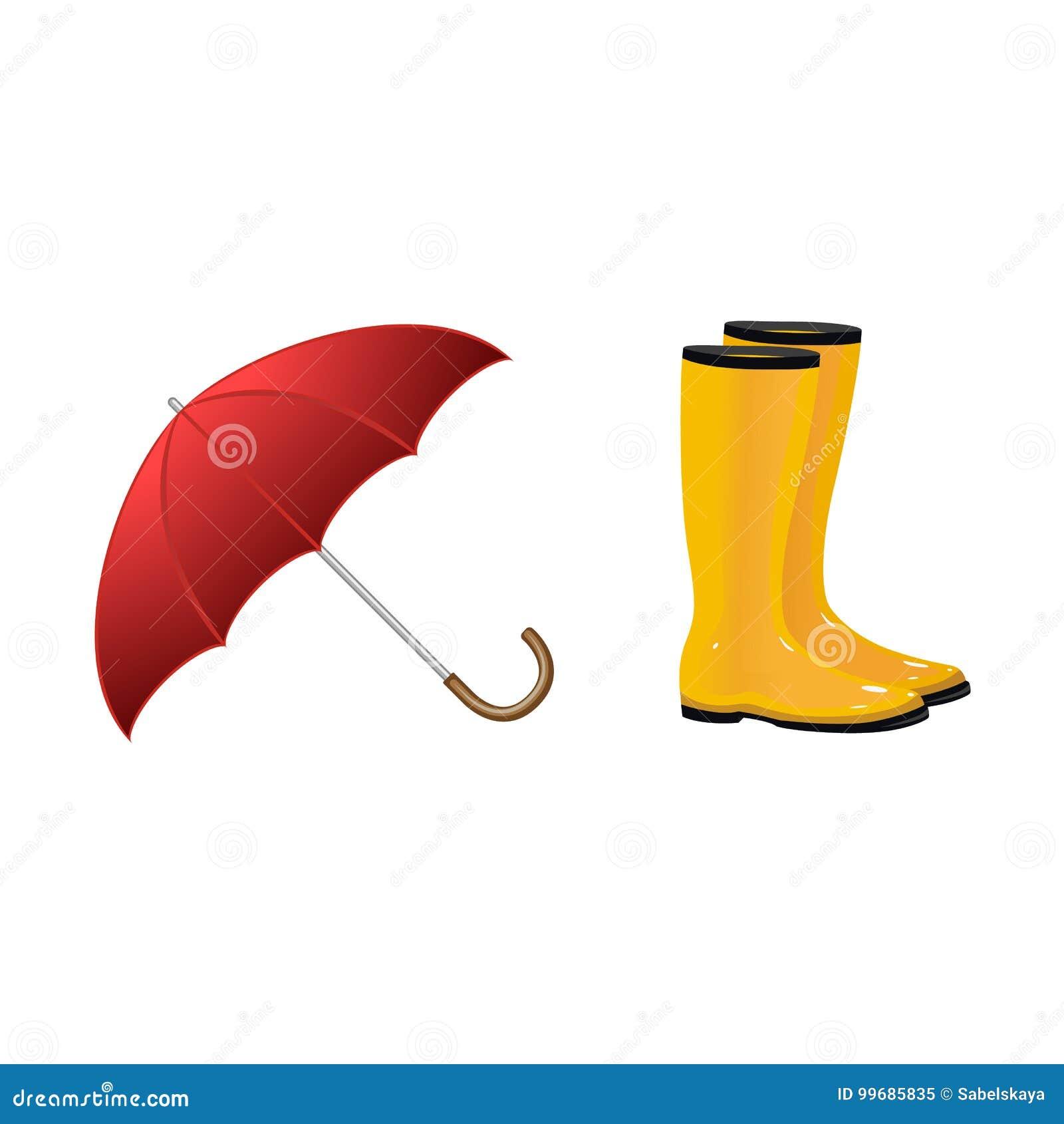 Gomma, ombrello, stivali, icona. Ombrello, illustration