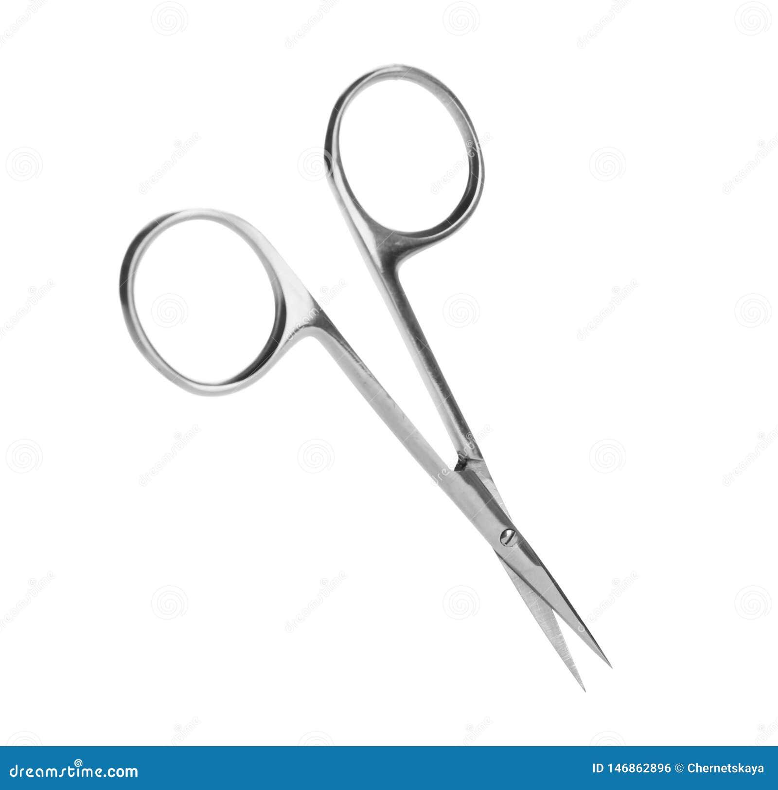 Paia delle forbici del chiodo su bianco