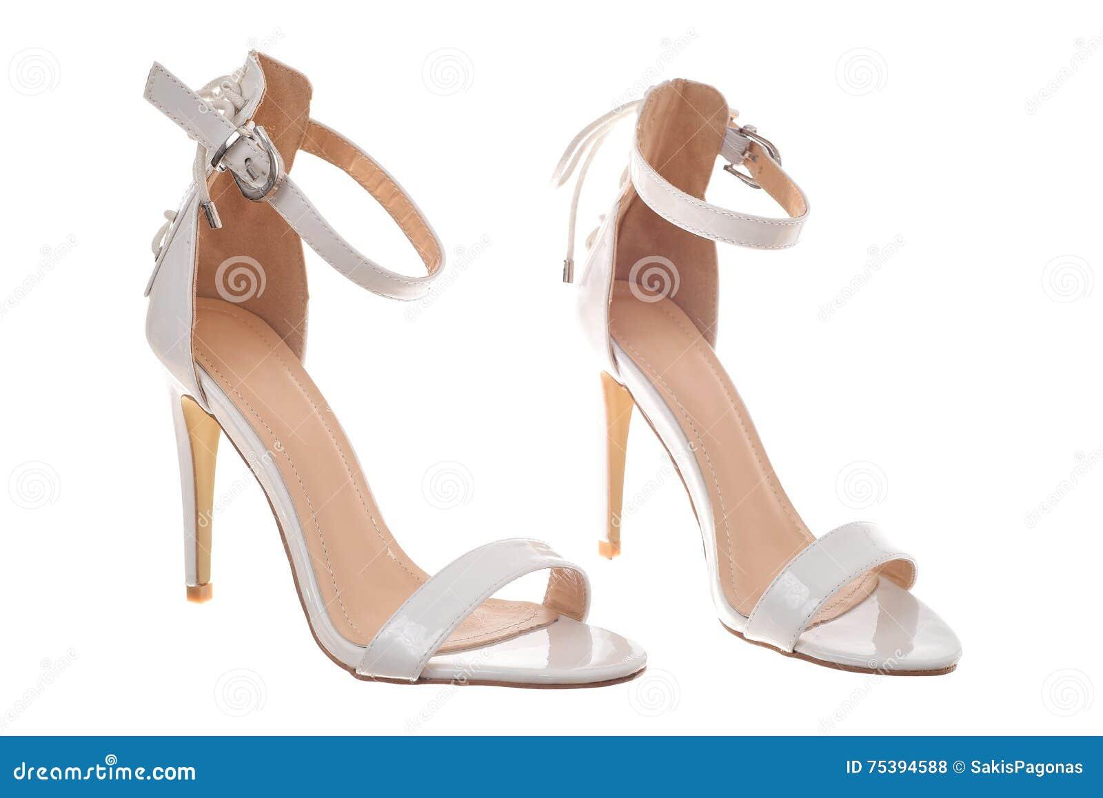 amazon super popolare stile squisito Paia Delle Scarpe Bianche Della Donna Del Tacco Alto Fotografia ...