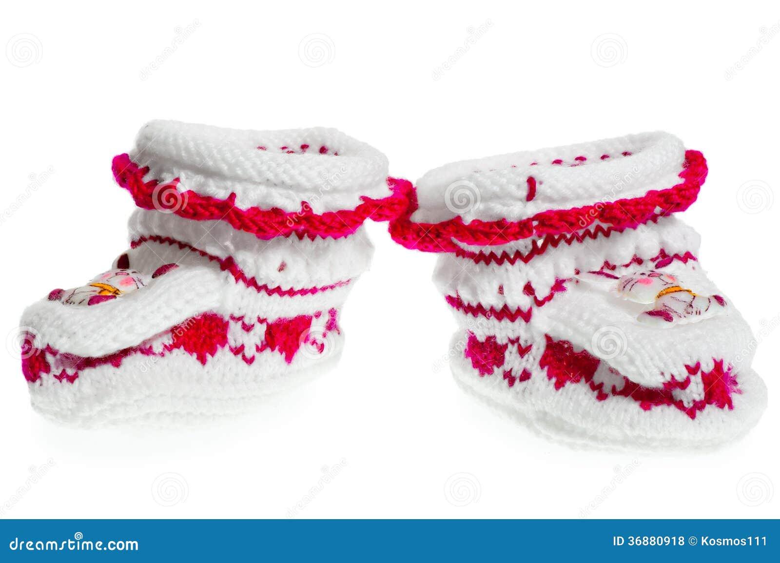 Download Paia Di Piccole Babbucce Calde Per La Ragazza Su Un Fondo Bianco Fotografia Stock - Immagine di pink, mestiere: 36880918