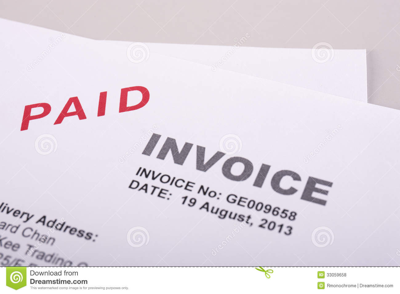 paid invoice stock photo image of financial paperwork 33059658