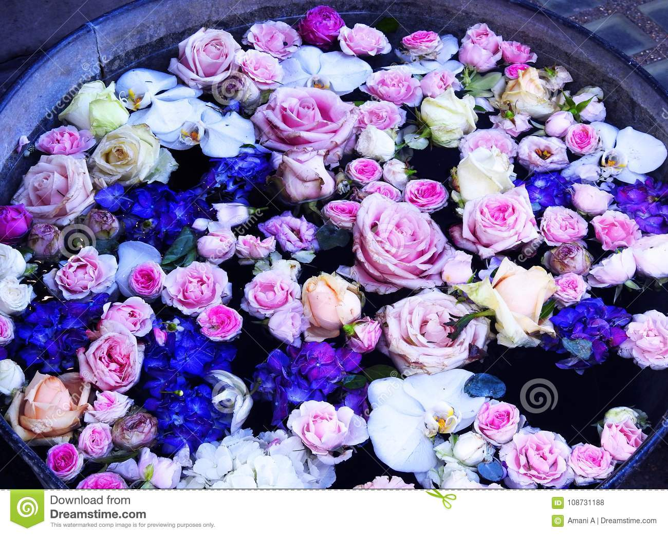 Pail of Flowers Floating in Water