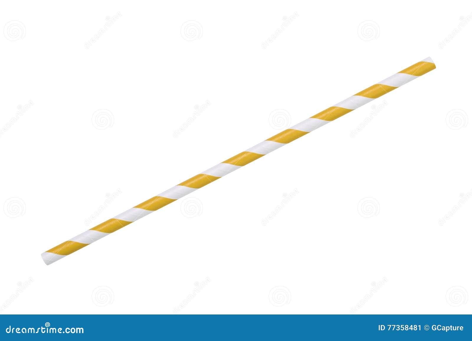 Paille rayée jaune de papier d eco d isolement sur le blanc