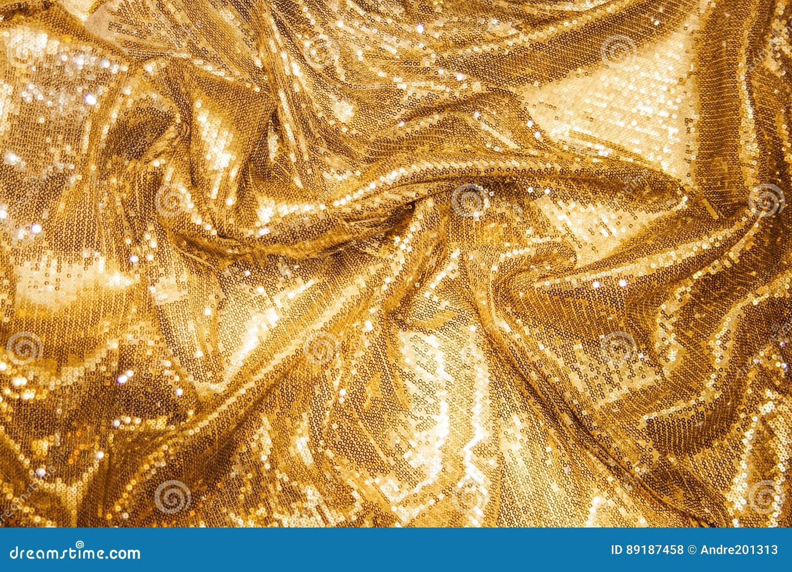 Paillettes d or - textile pailleté de scintillement
