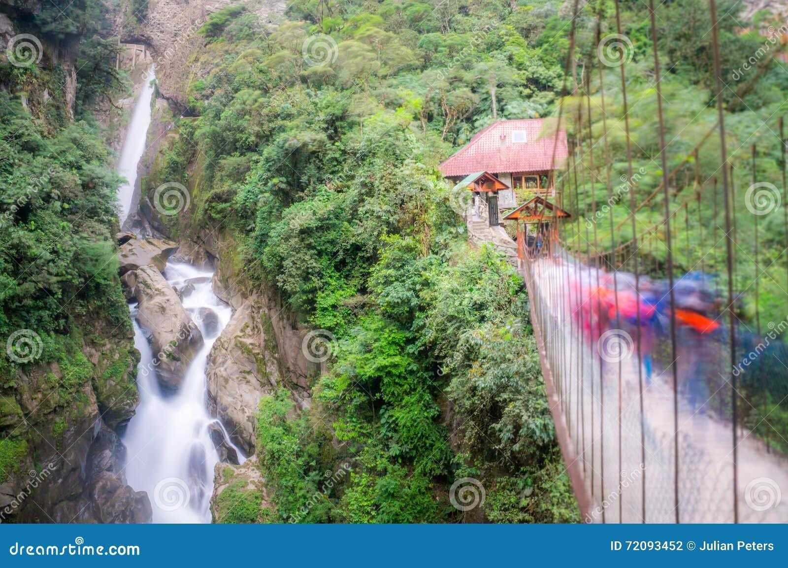Banos Del.Pailon Del Diablo Waterfall In Banos Ecuador Stock Photo