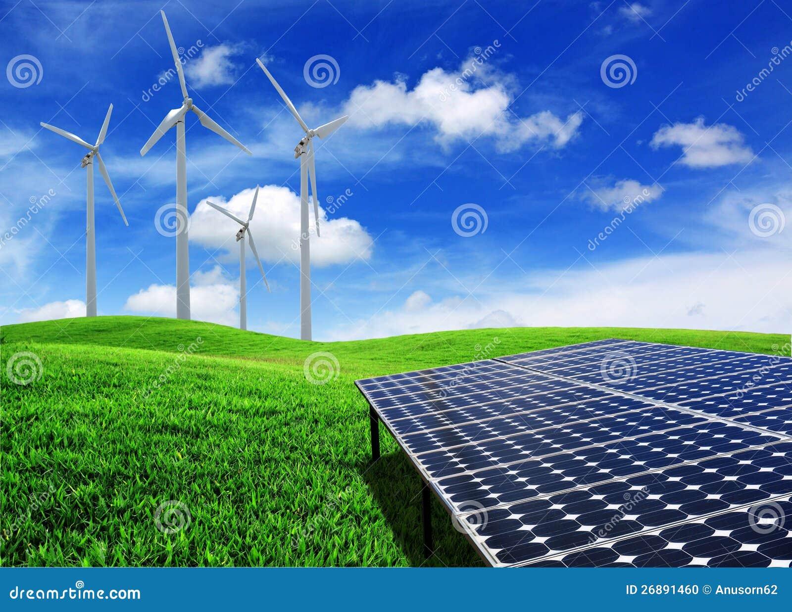 Painéis da energia da célula solar e turbina de vento