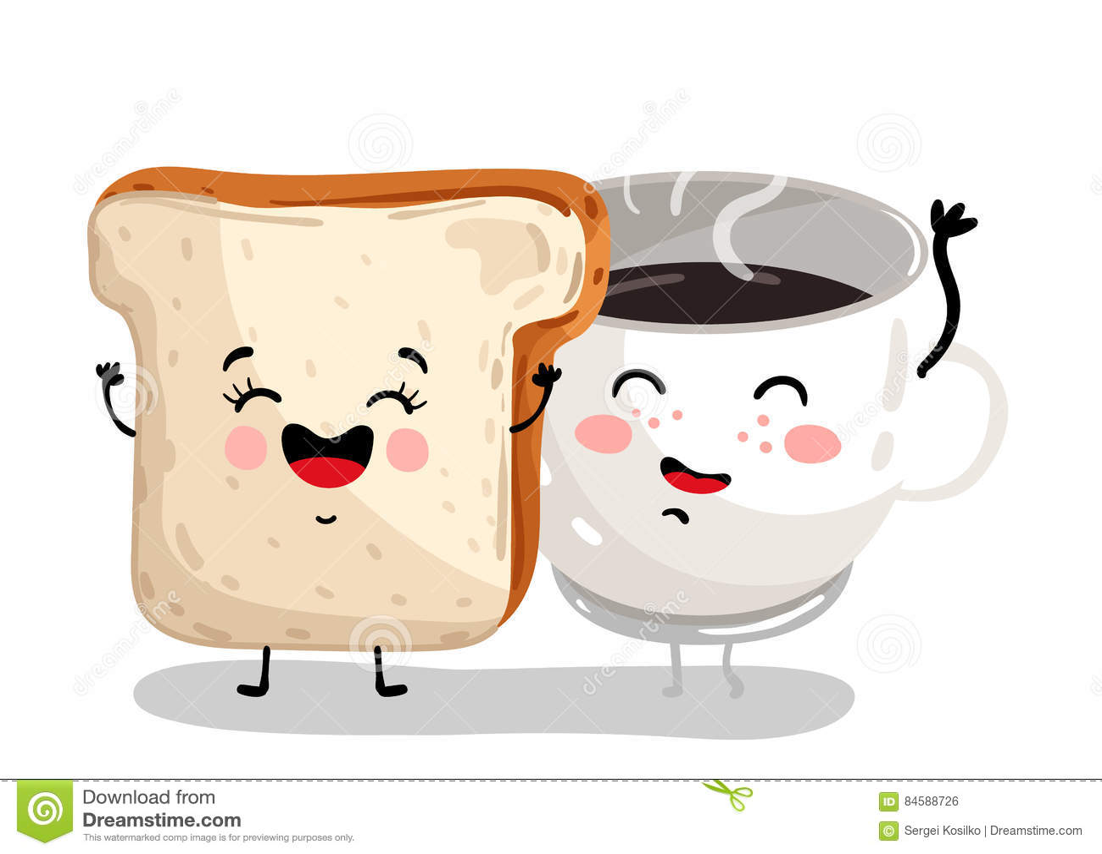 Pain de pain grill et personnage de dessin anim dr les de tasse de caf illustration de - Tasse de cafe dessin ...