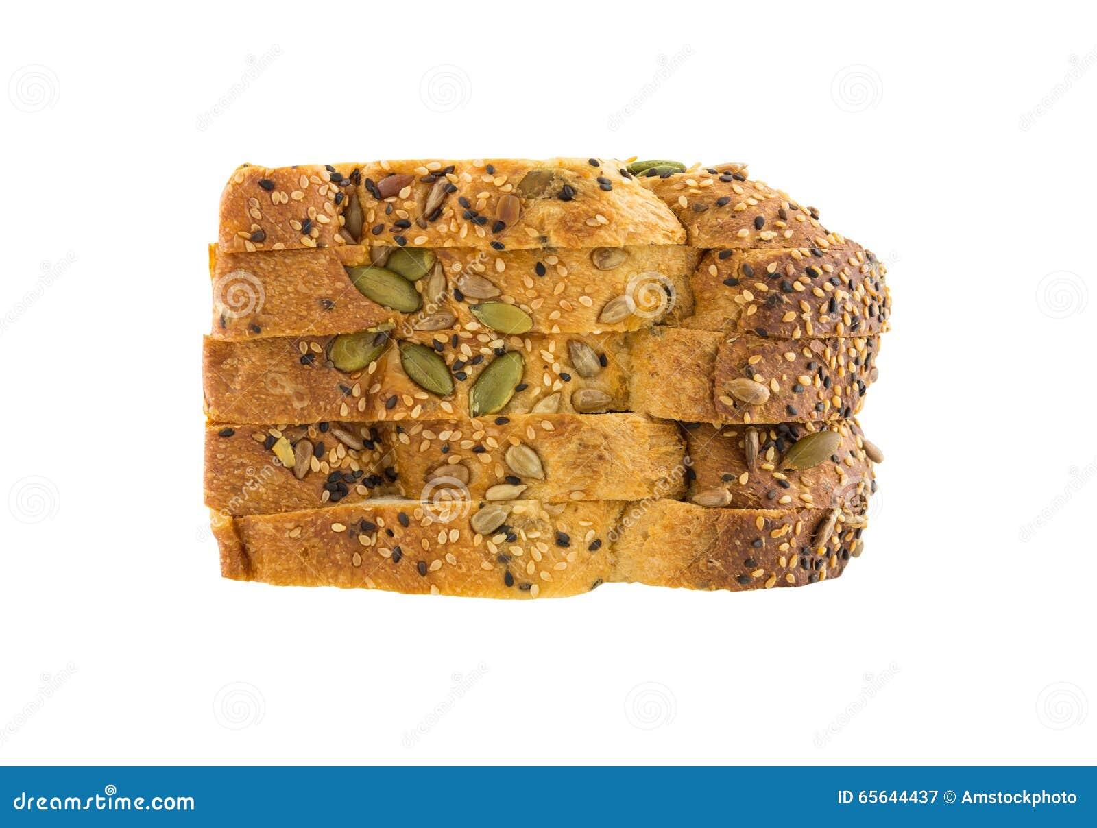 Pain du pain entier de grains d isolement sur le fond blanc