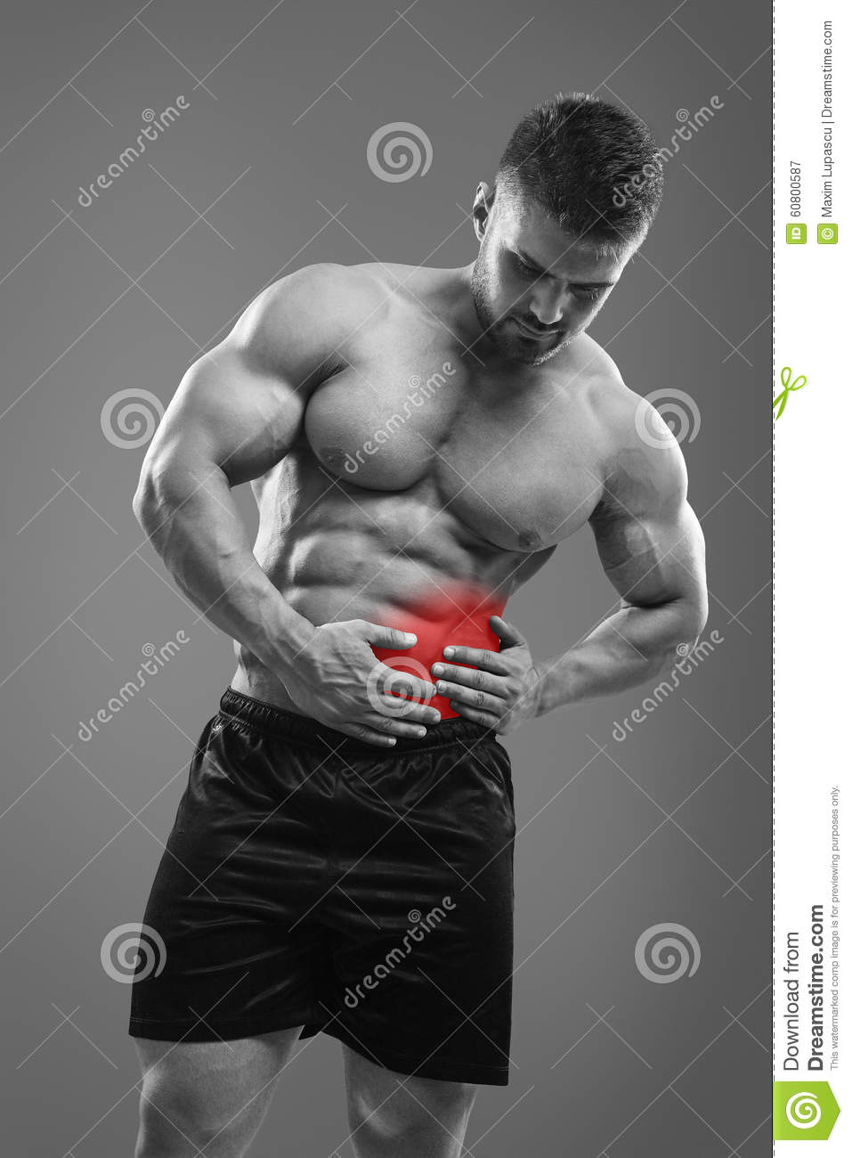 Pain in left side of belly stock image  Image of expression