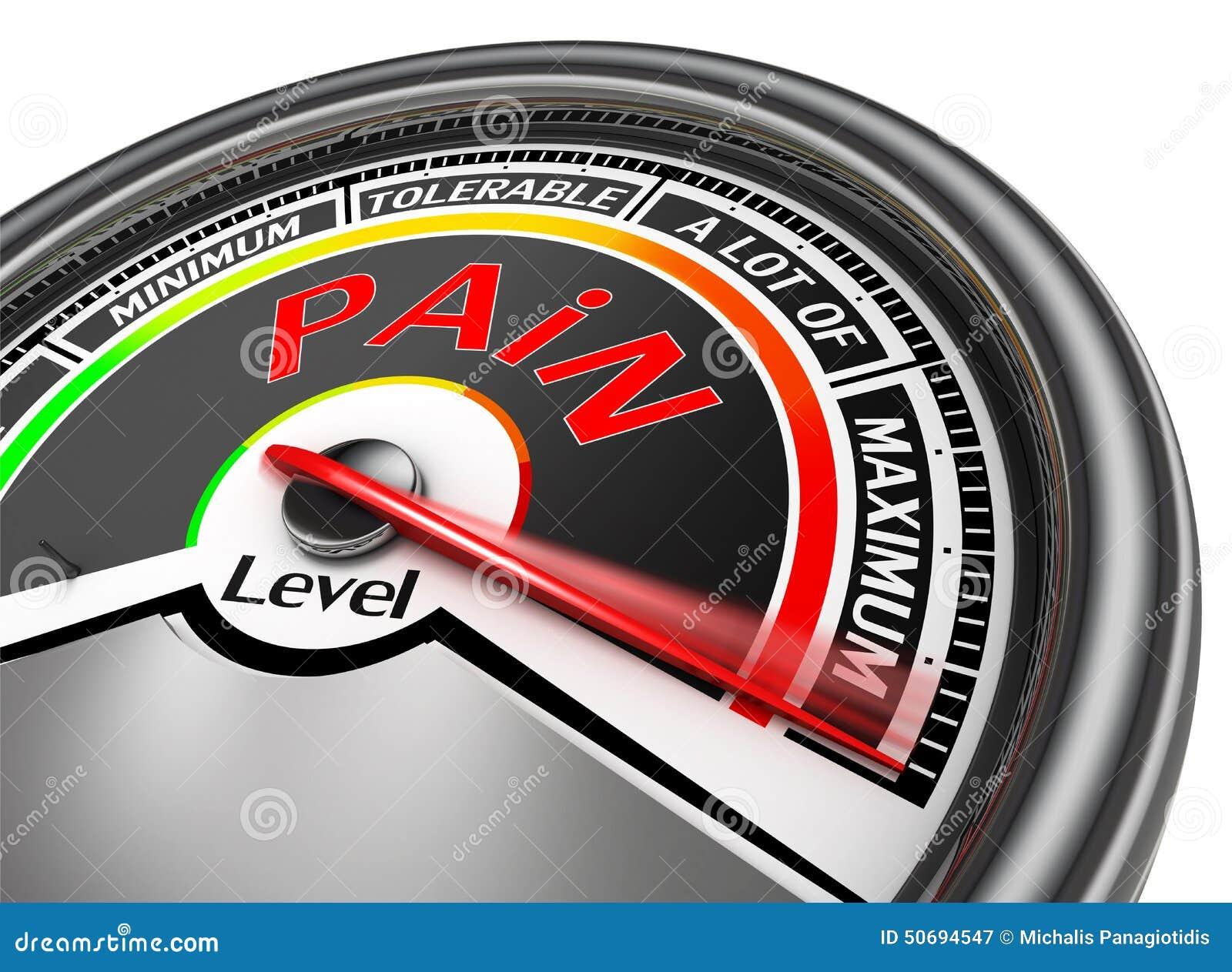 pain level conceptual meter indicate maximum stock