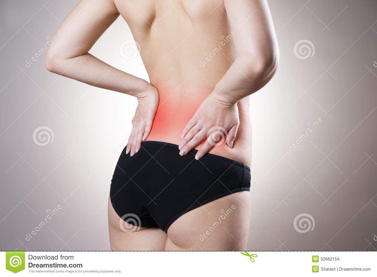 Pain In Lower Back Of Women Stock Photo - Image: 52662154