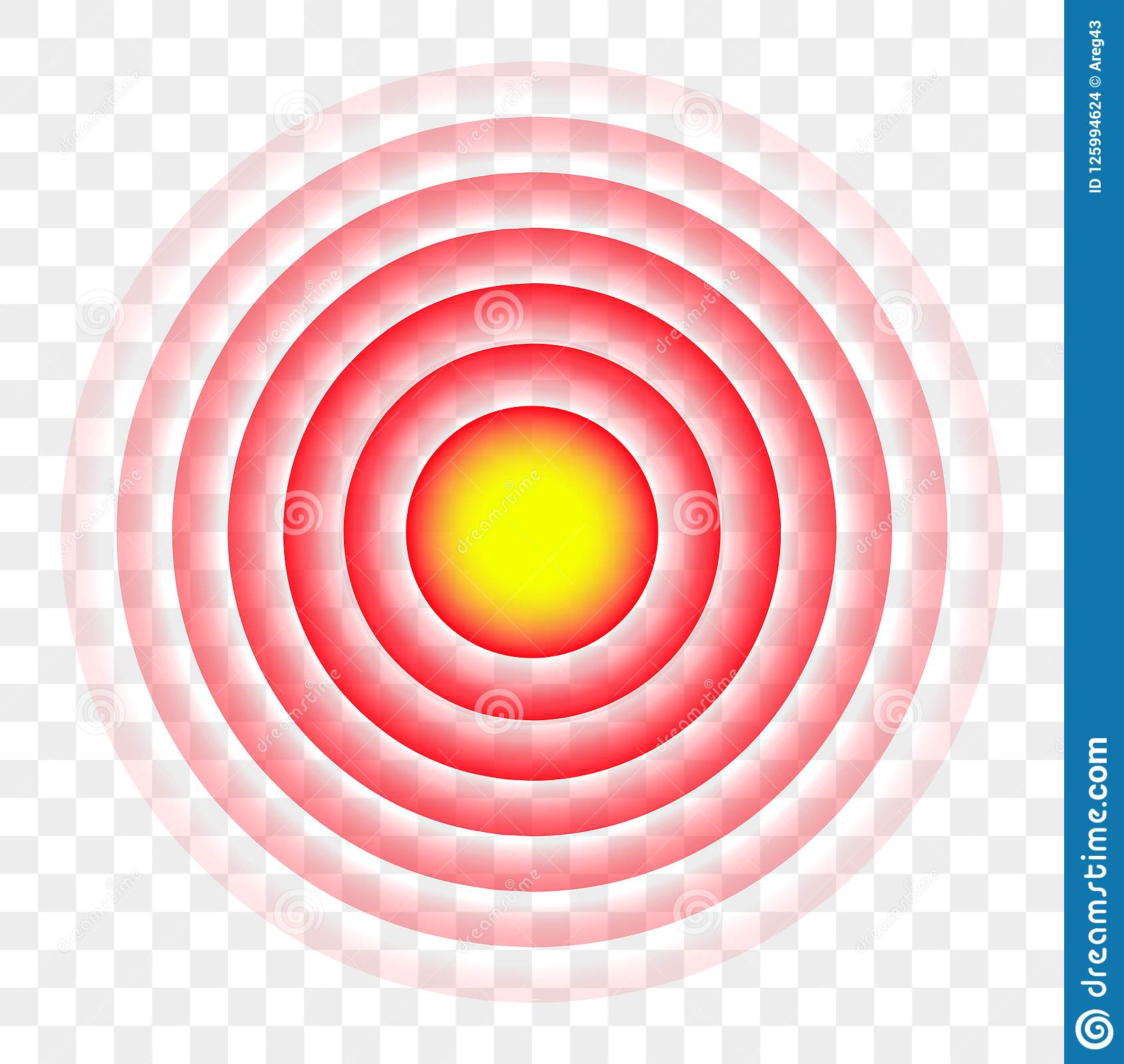 Pain Red Circle Radial Target Vector Icon Stock Vector