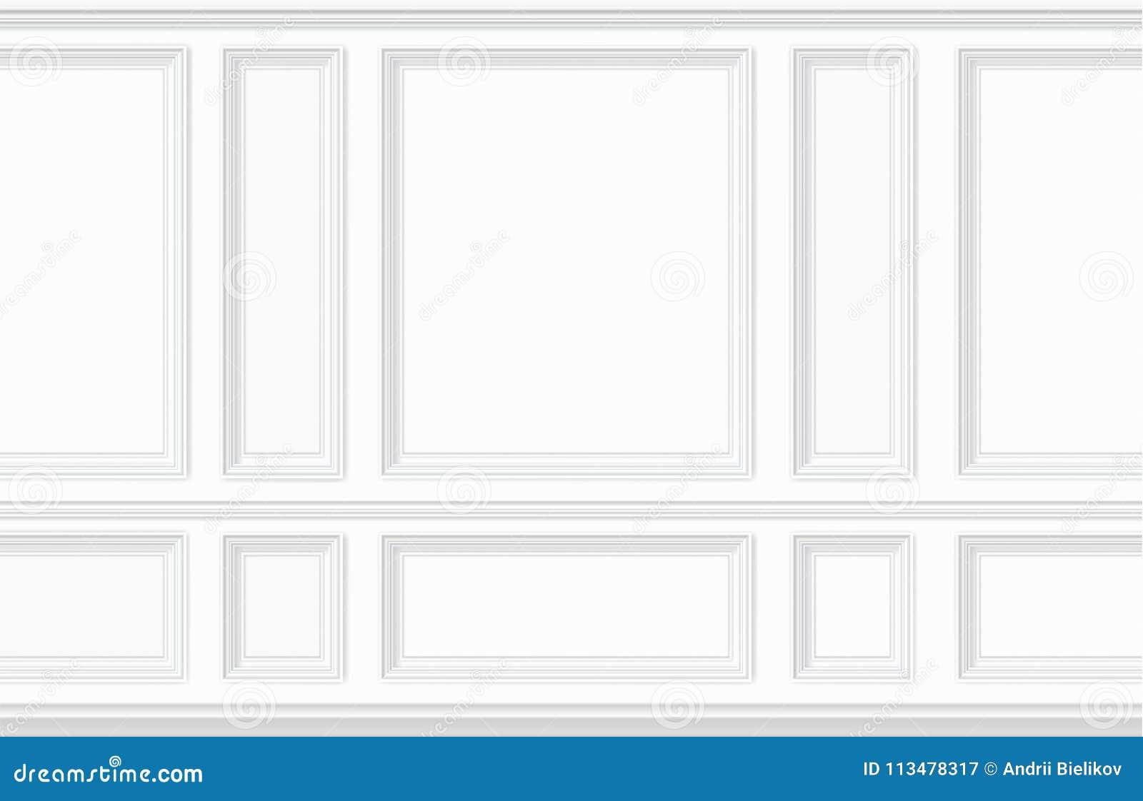 Painel de parede branco moldando