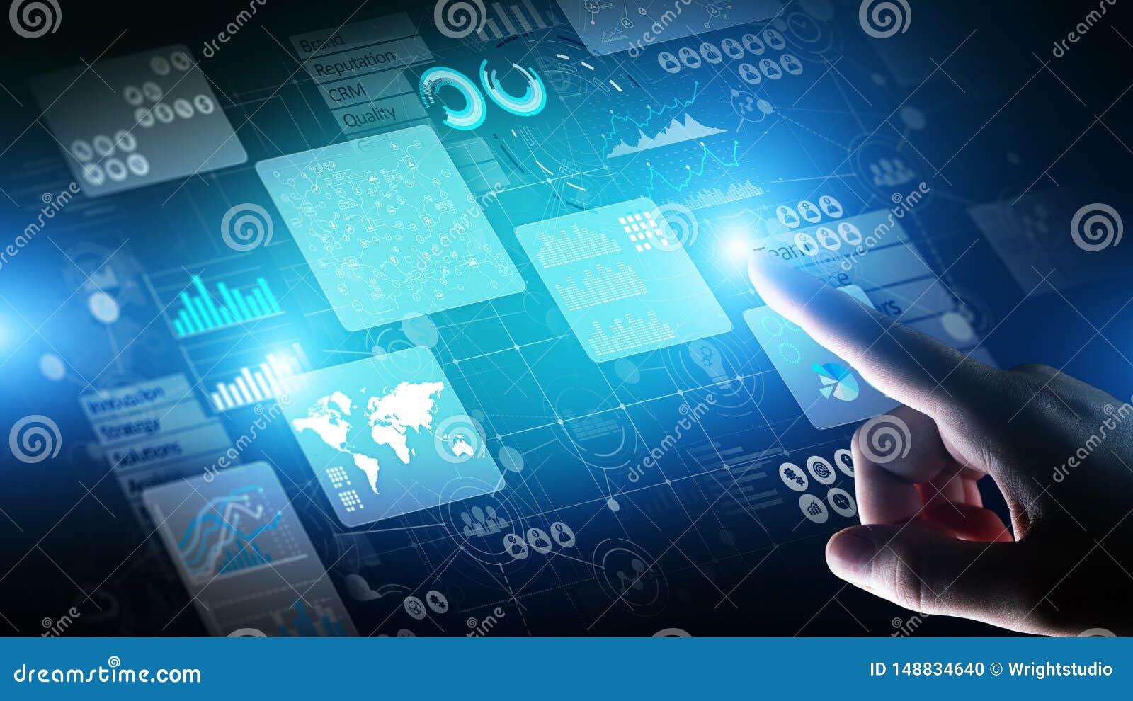 Painel do analista de intelig?ncia empresarial na tela virtual Os dados grandes representam graficamente cartas