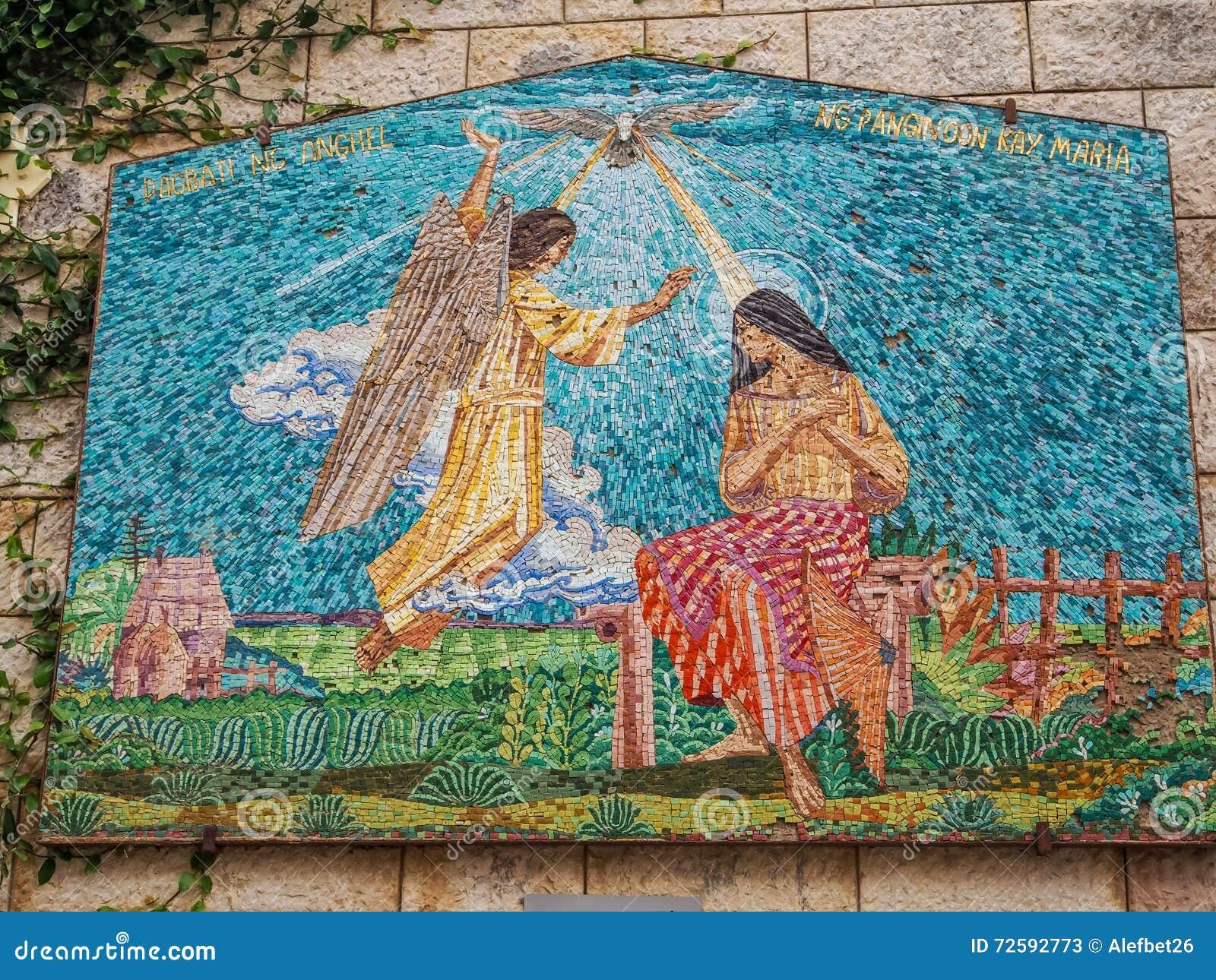 Painel do mosaico - Virgem Maria e anjo, basílica do aviso em Nazareth, Israel