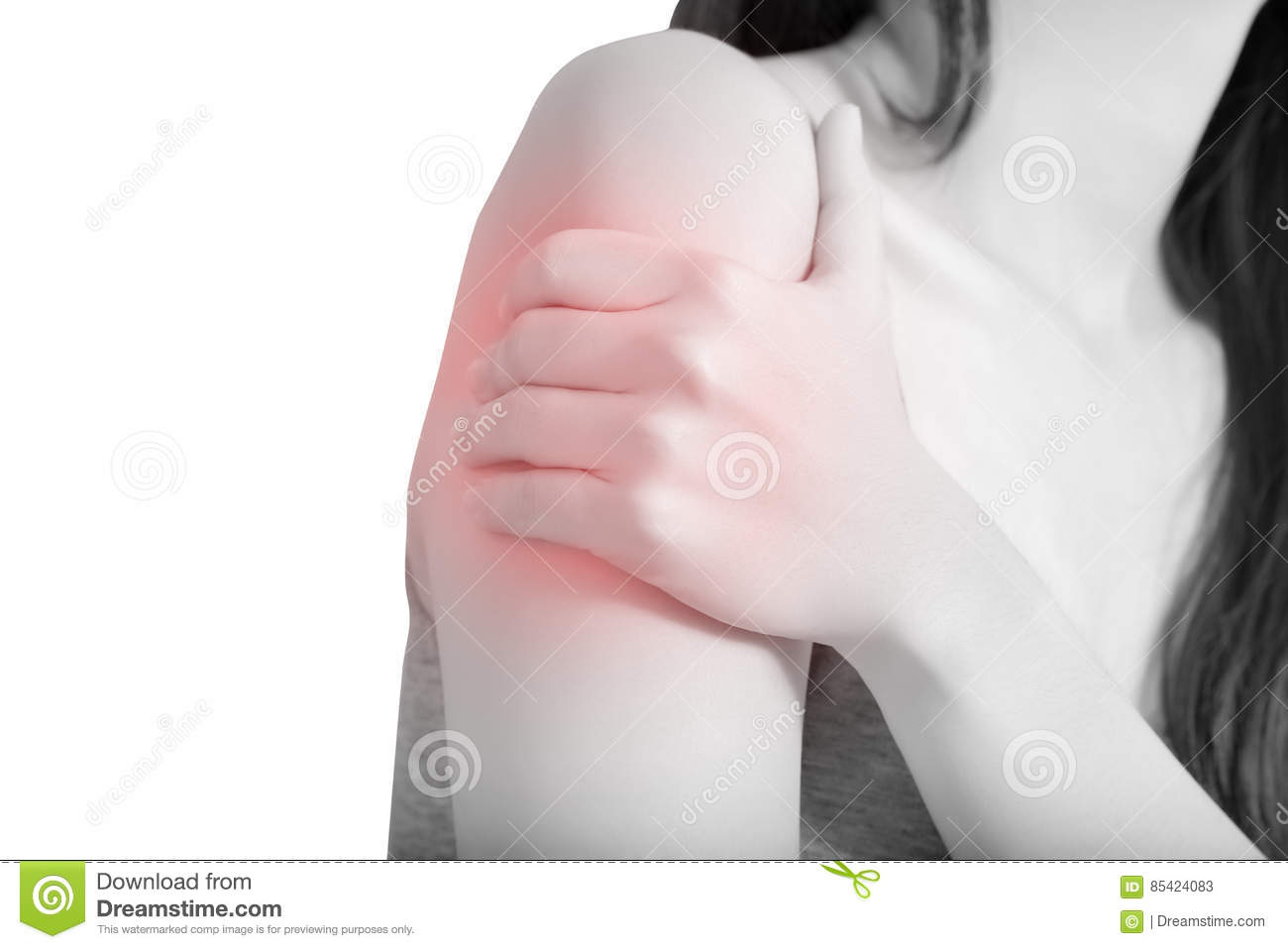 Painful arm in a woman isolated on white background. Clipping path on white background.