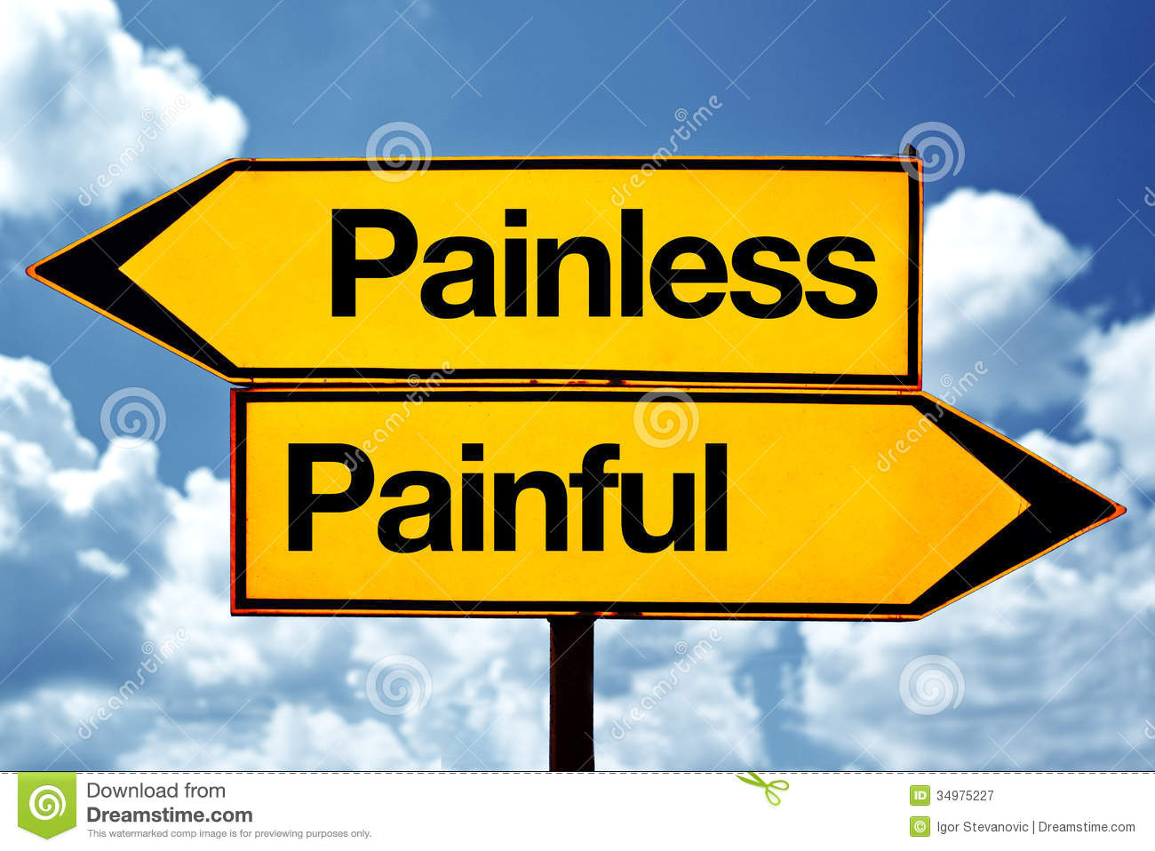 Painless or painful opposite signs. Two opposite road signs against ...
