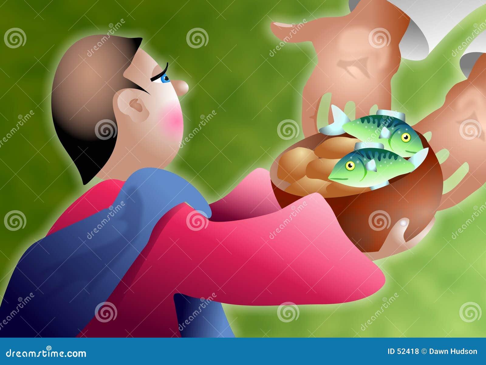 Download Pains et poissons illustration stock. Illustration du religieux - 52418