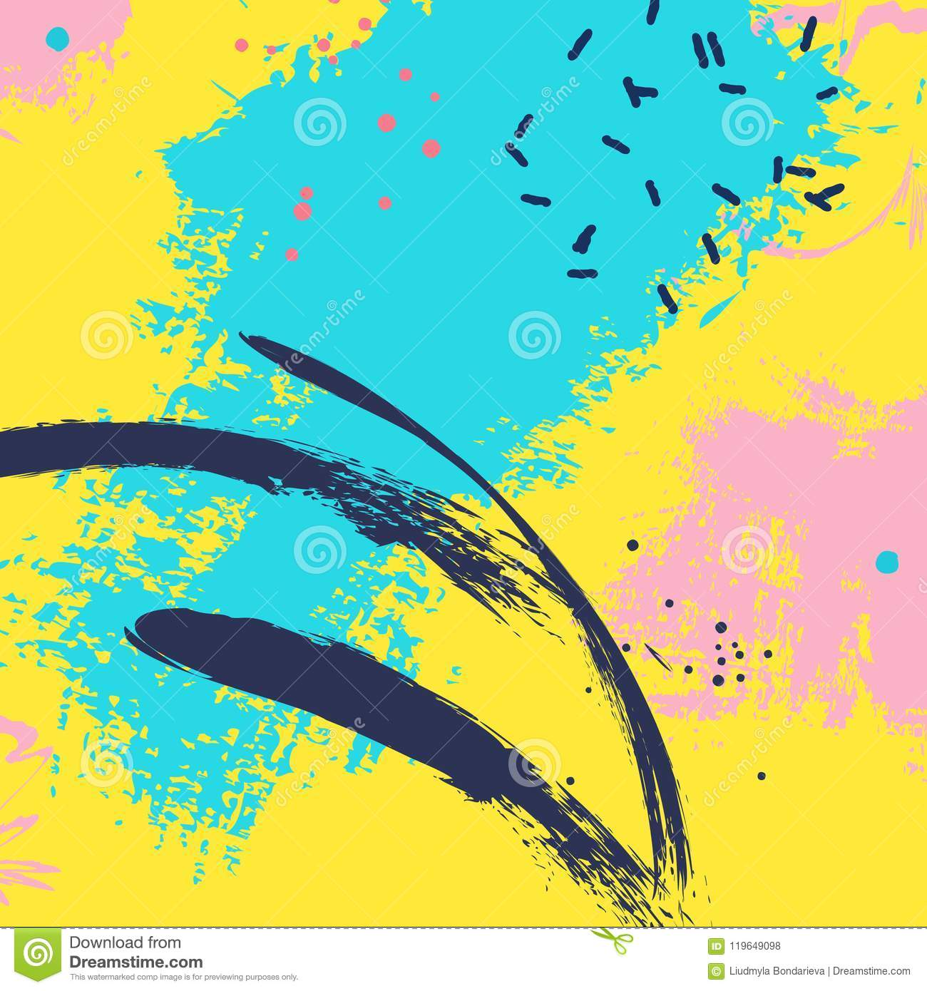 Paint Blue Yellow Brush Stroke. Fashion Neon Blue Abstract Vector ...
