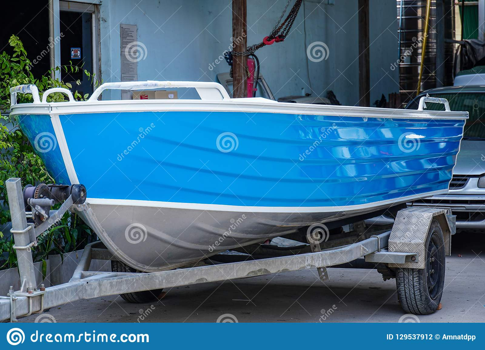 Paint The Boat In Blue And White Stock Photo Image Of