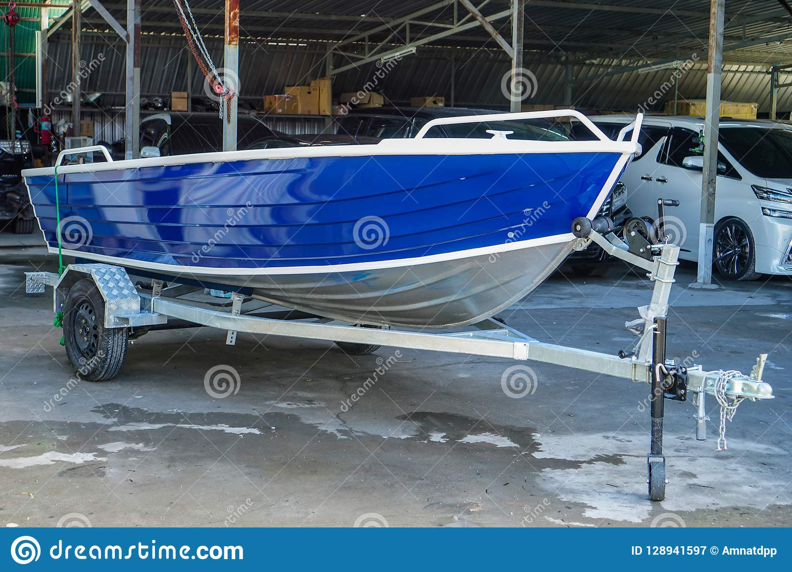 Paint The Boat In Blue And White Stock Image - Image of ...