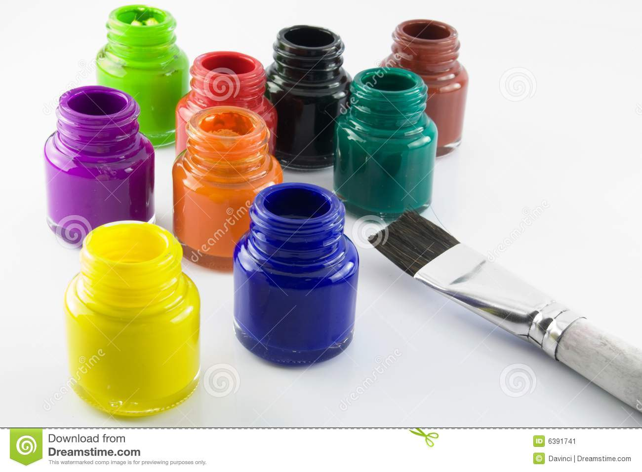 paint bottles and brush stock image image of colored