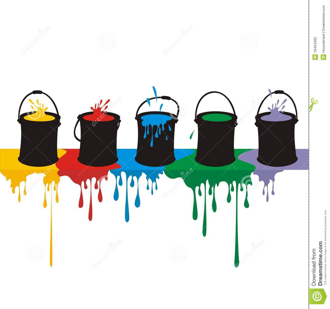 paint boxes and drops on a wall stock vector image 16404393