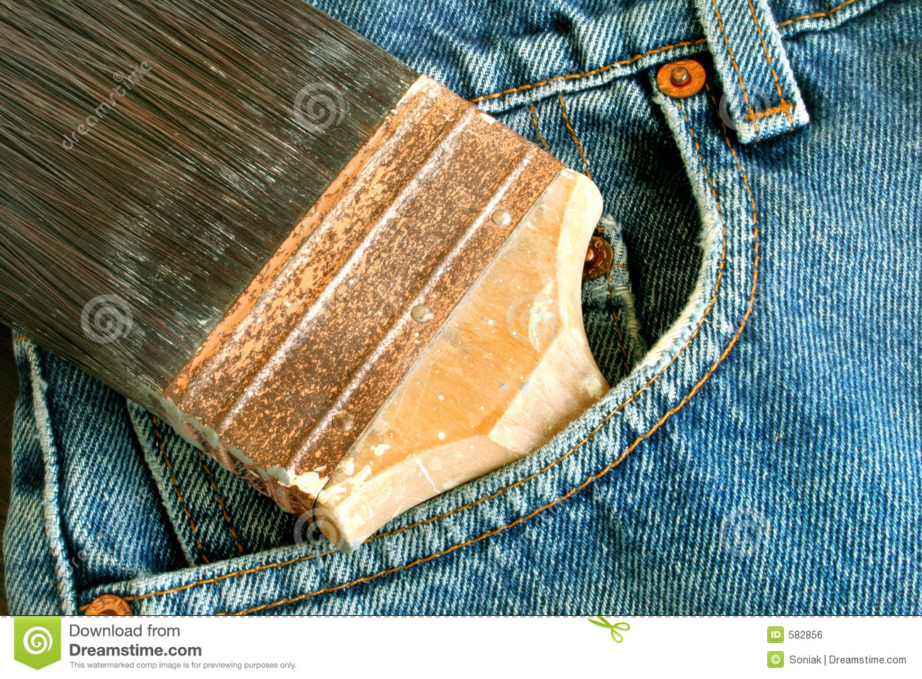 Paint brush and bluejeans