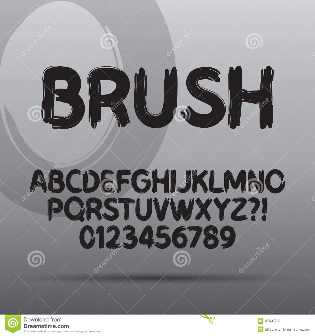 Paint Brush Font And Numbers Stock Photography - Image: 37607762