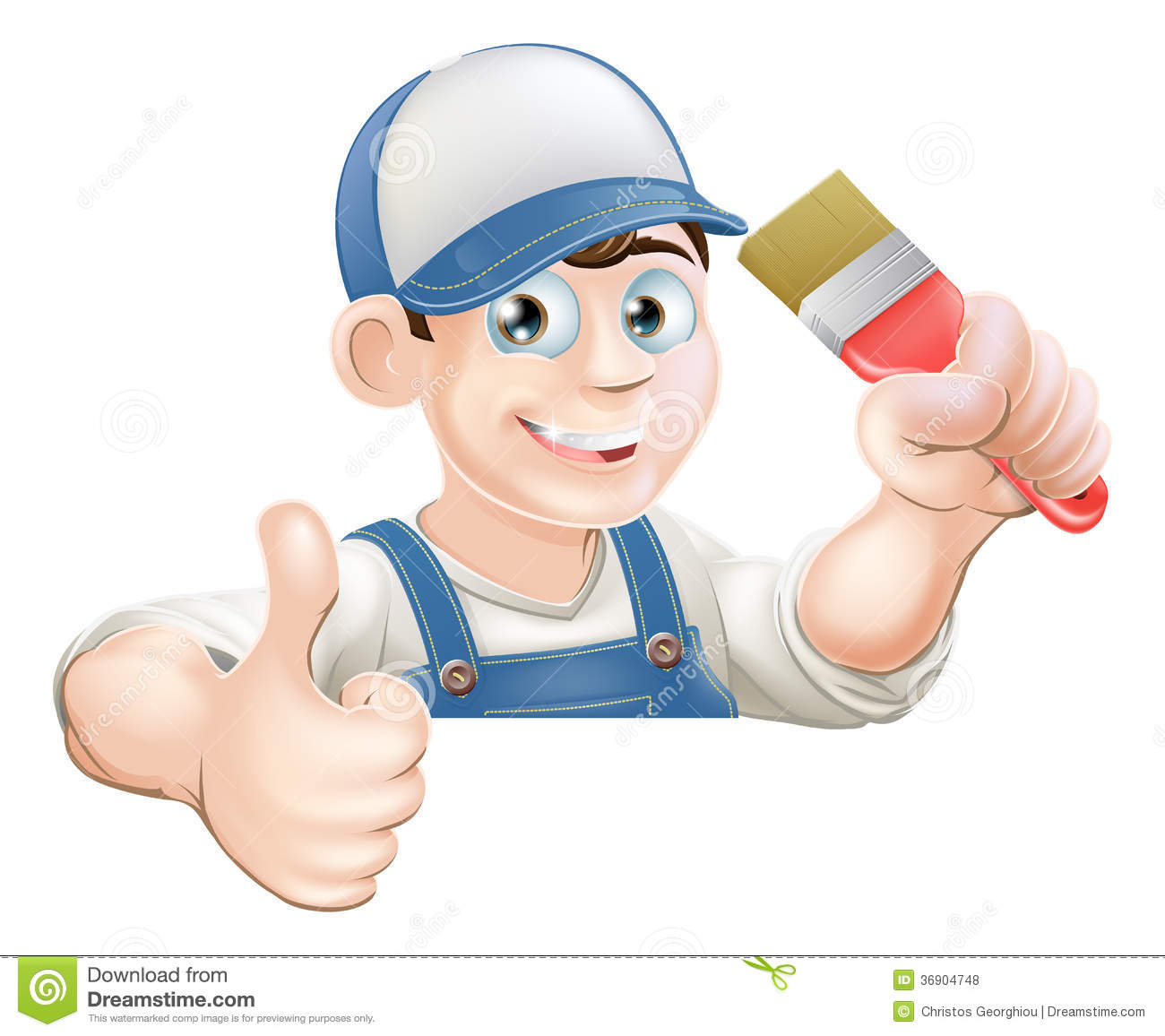 Painter Decorator Sign Stock Vector: Paint Brush Man Over Sign Thumbs Up Stock Vector