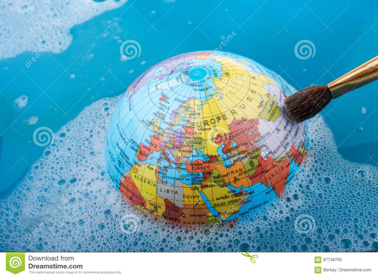 e88299af4c13 Paint Brush Placed On The Top Of Globe Stock Image - Image of ...
